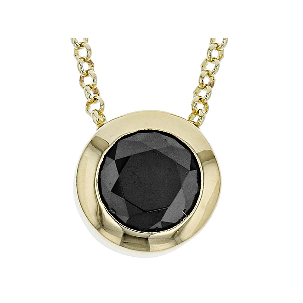 Gold Tone Black Diamond Simulant Necklace