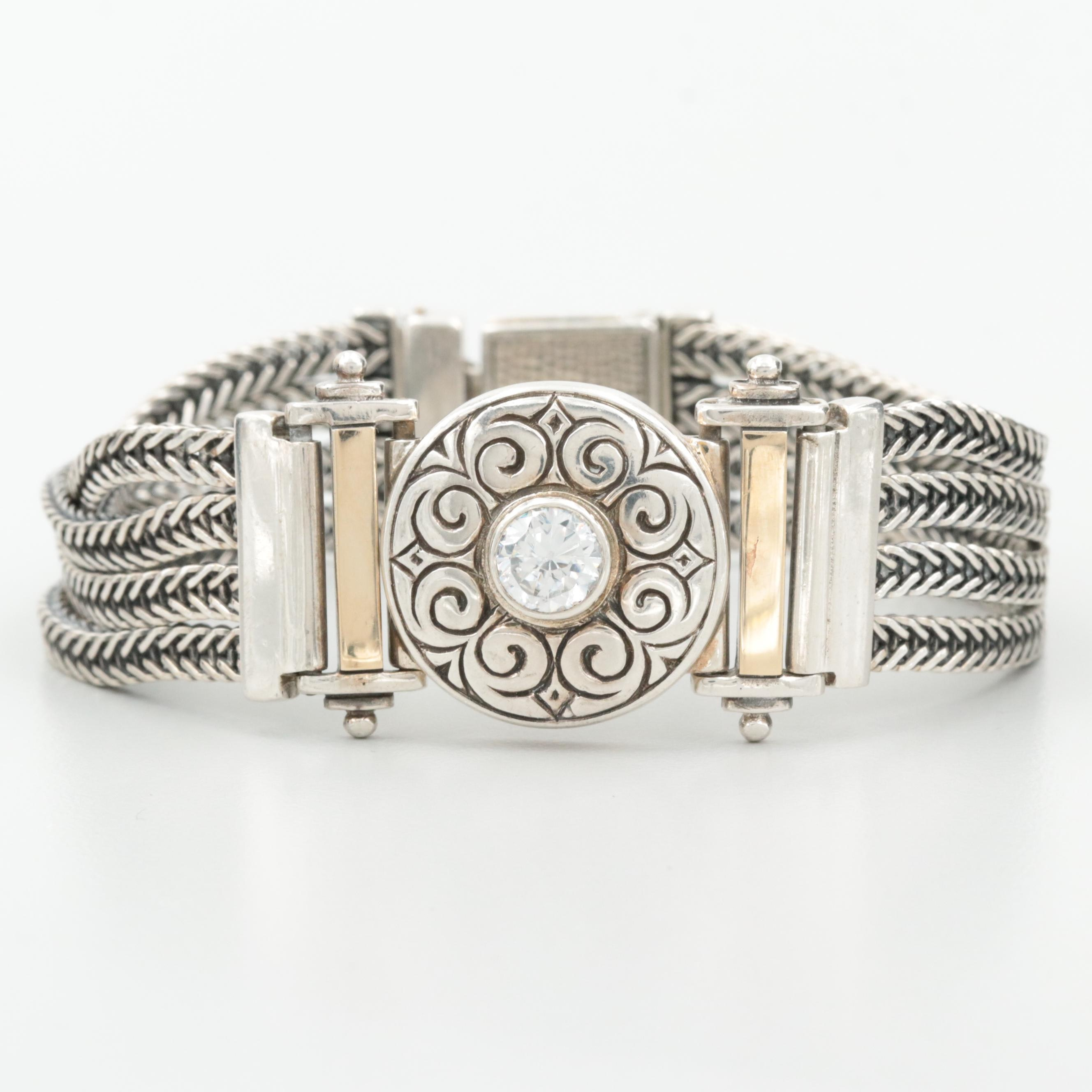 Sterling Silver Cubic Zirconia Bracelet with 14K Yellow Gold Accents