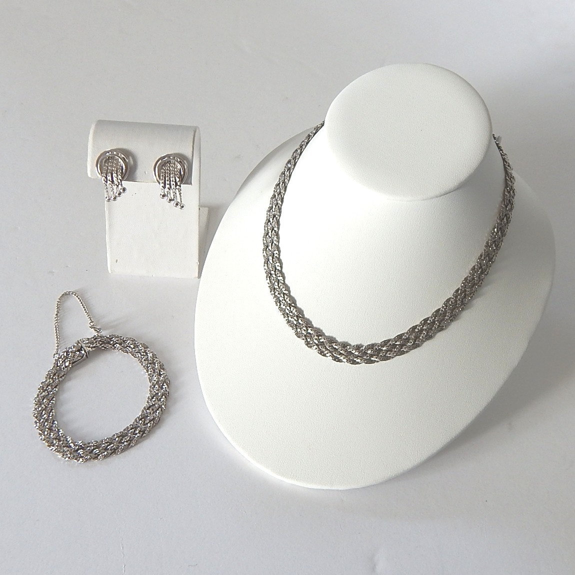 Sterling Silver Braided Matching Necklace, Bracelet, and Earrings, Vintage