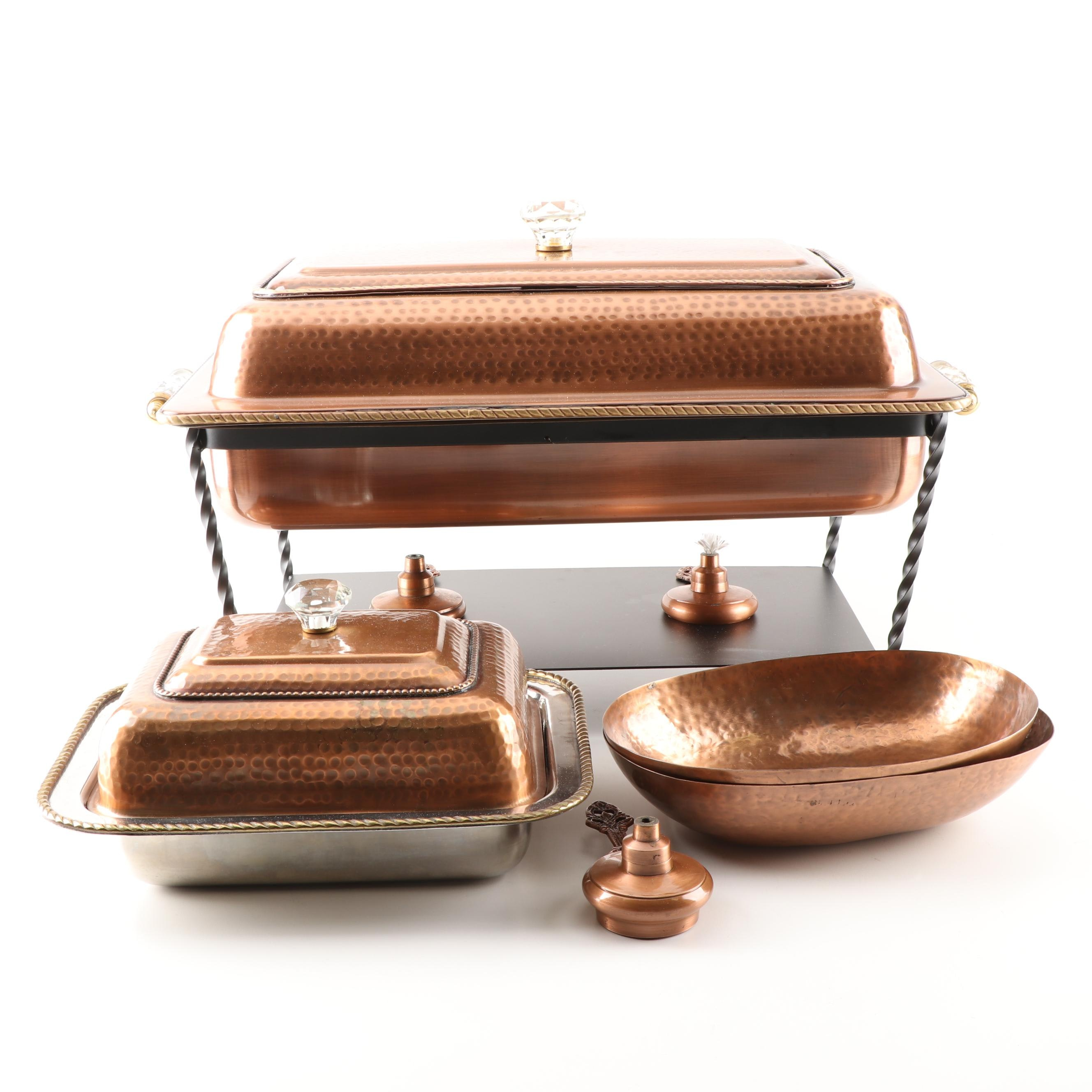 Grouping of Copper Tone Chafing Dishes and Serveware, Contemporary