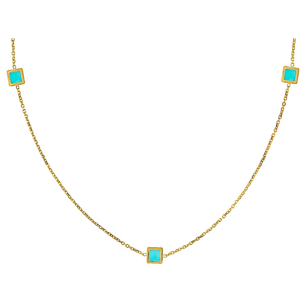 14K Yellow Gold Turquoise Simulant Necklace