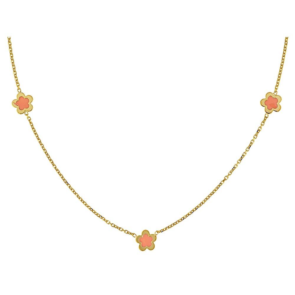 14K Gold Enamel Bead Necklace