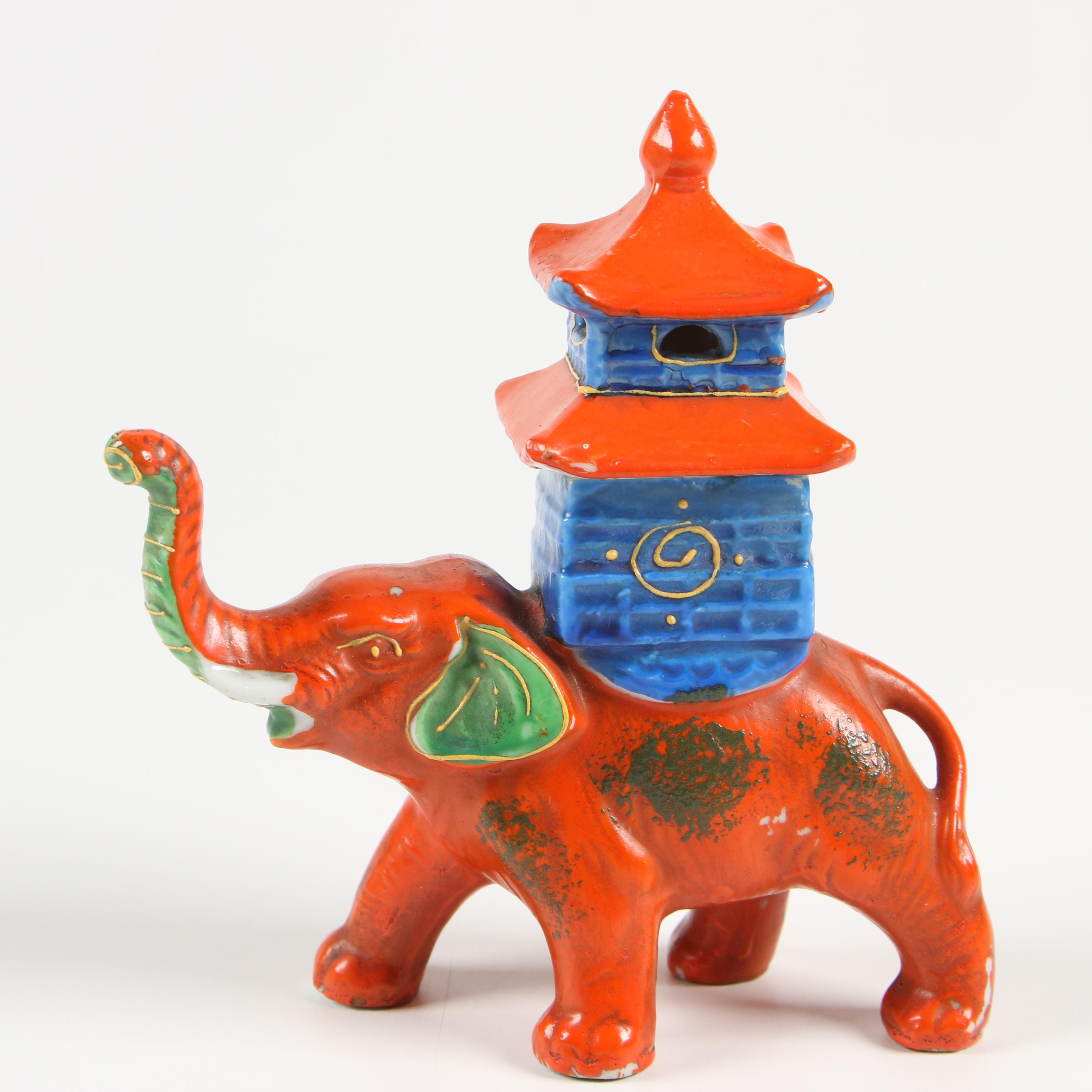 Cold Painted Ceramic Novelty Elephant Incense Burner