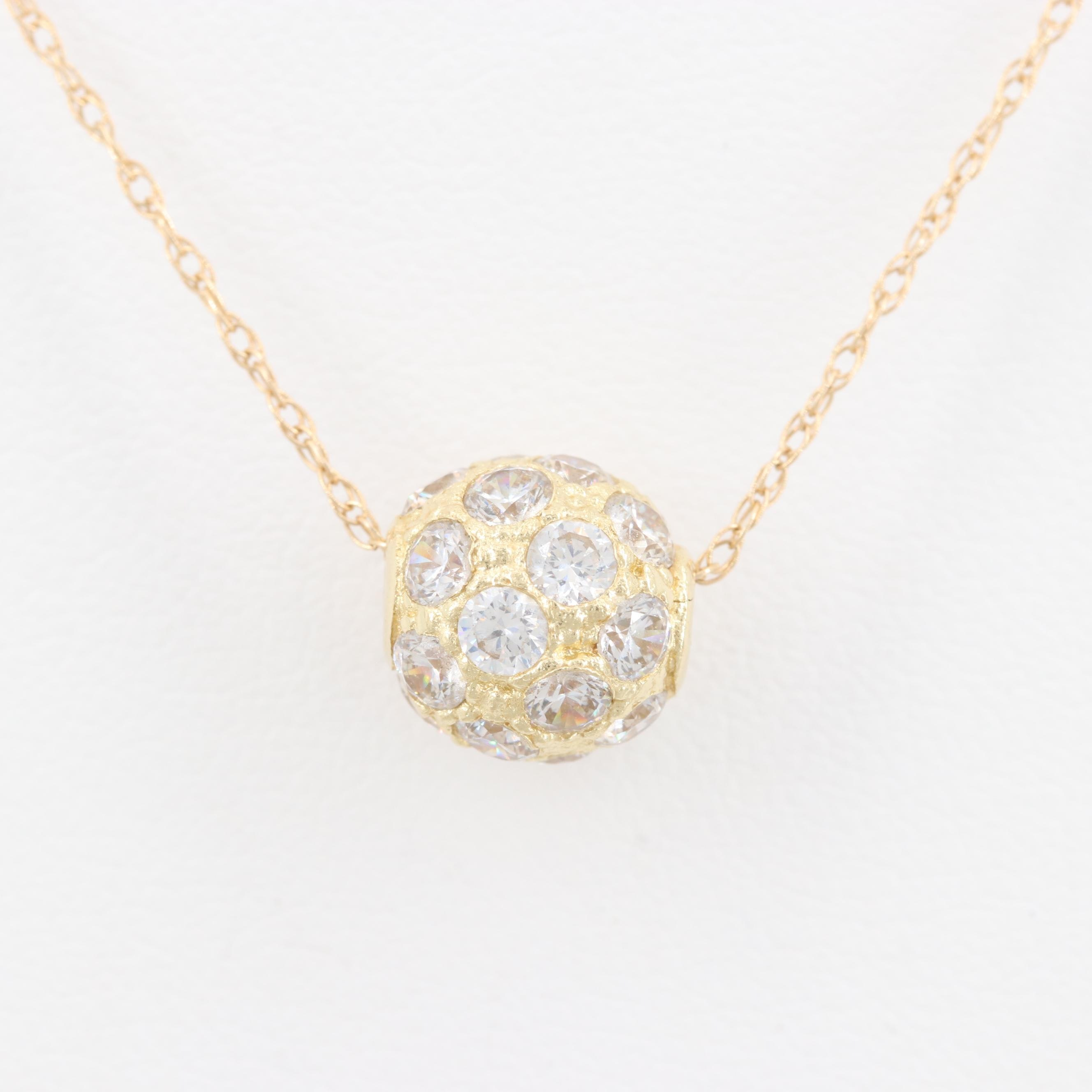 14K Yellow Gold Gem Pendant Necklace