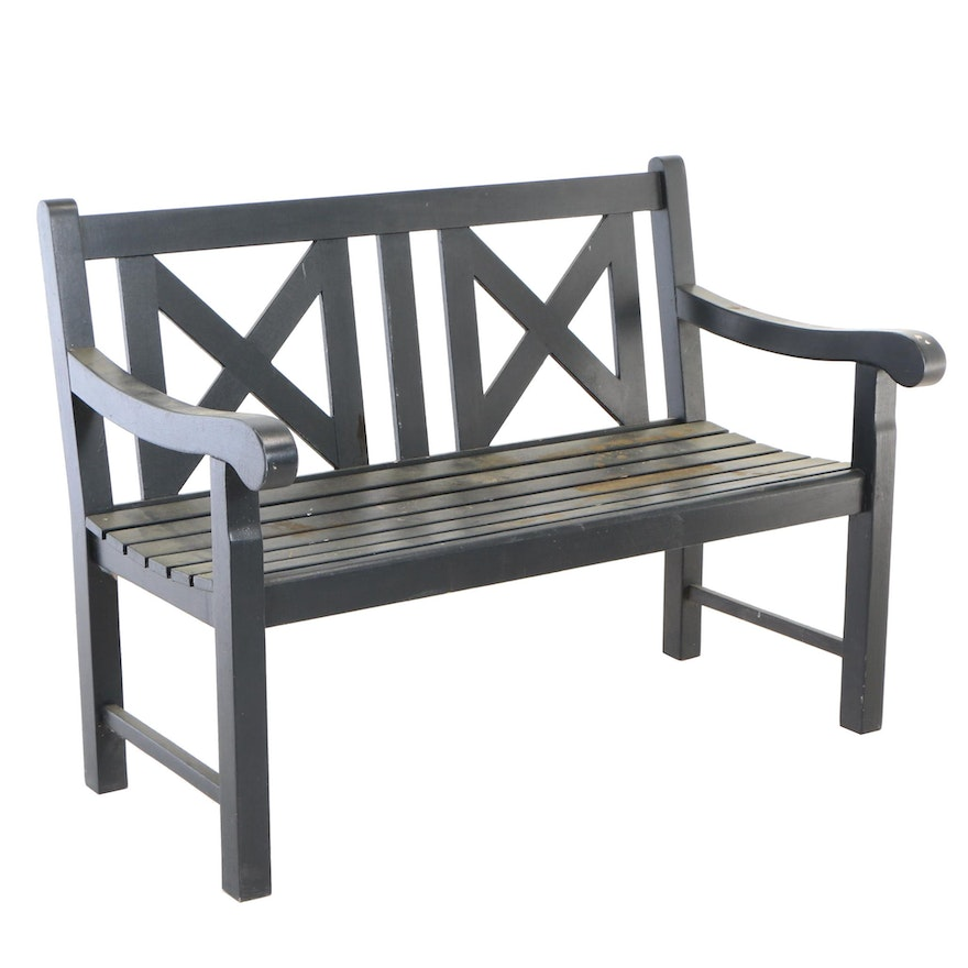 Contemporary Ebonized and Slatted-Wood Garden Bench