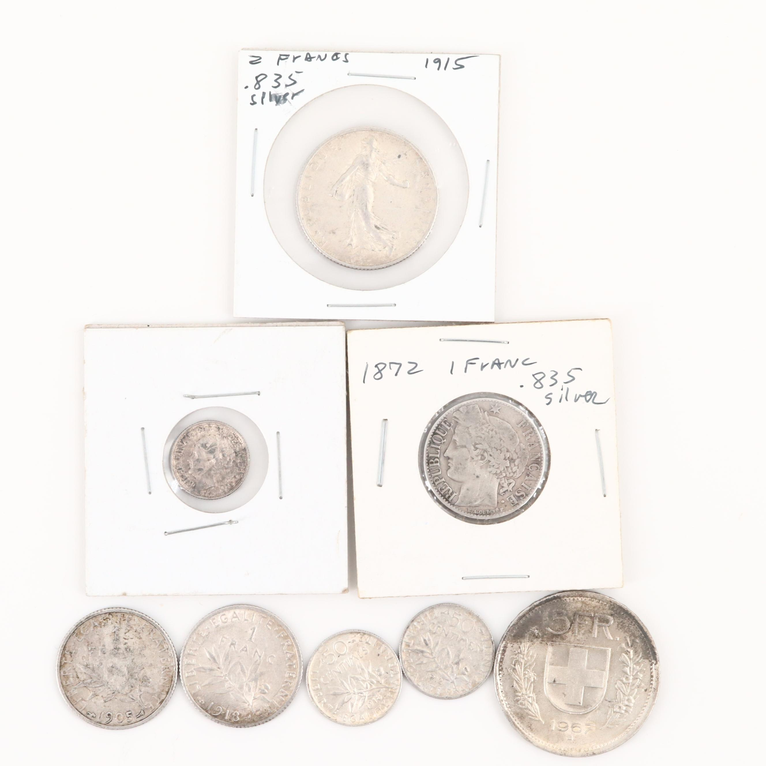 Various Foreign Silver Coins From Switzerland, Netherlands and France