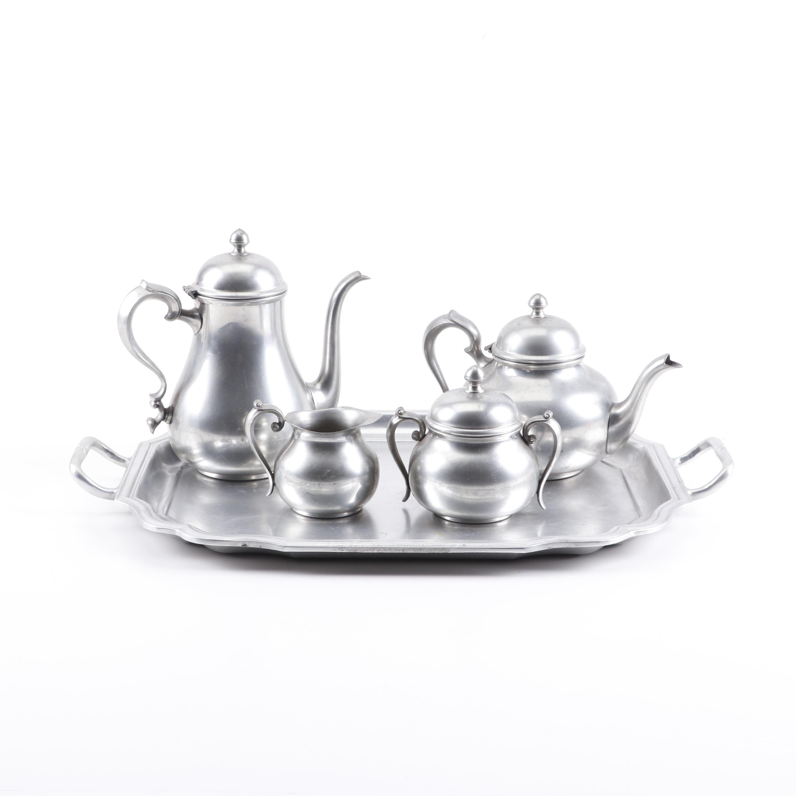 Towle Pewter Tea Set with Wilton Columbia Service Tray