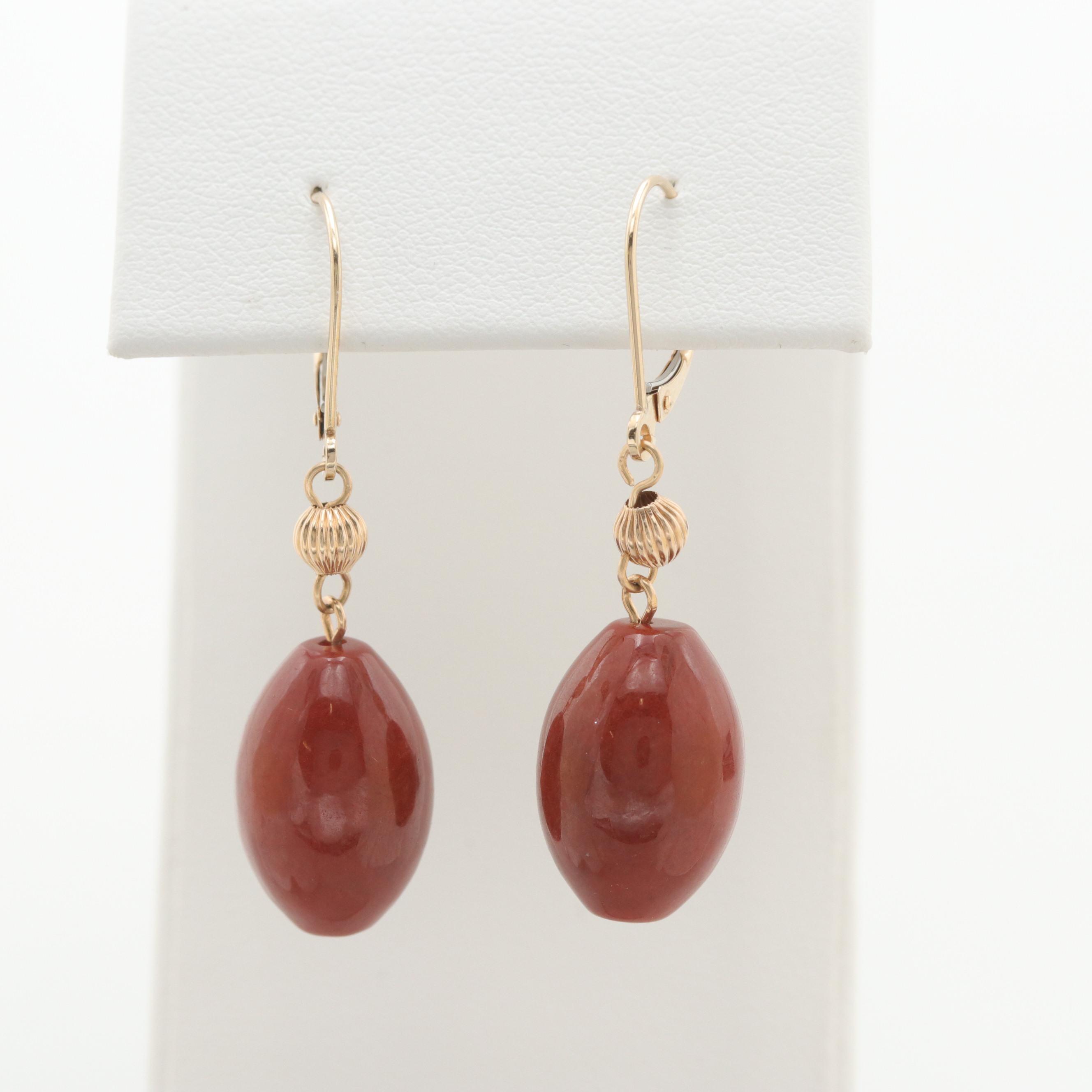 14K Yellow Gold Jadeite Dangle Earrings