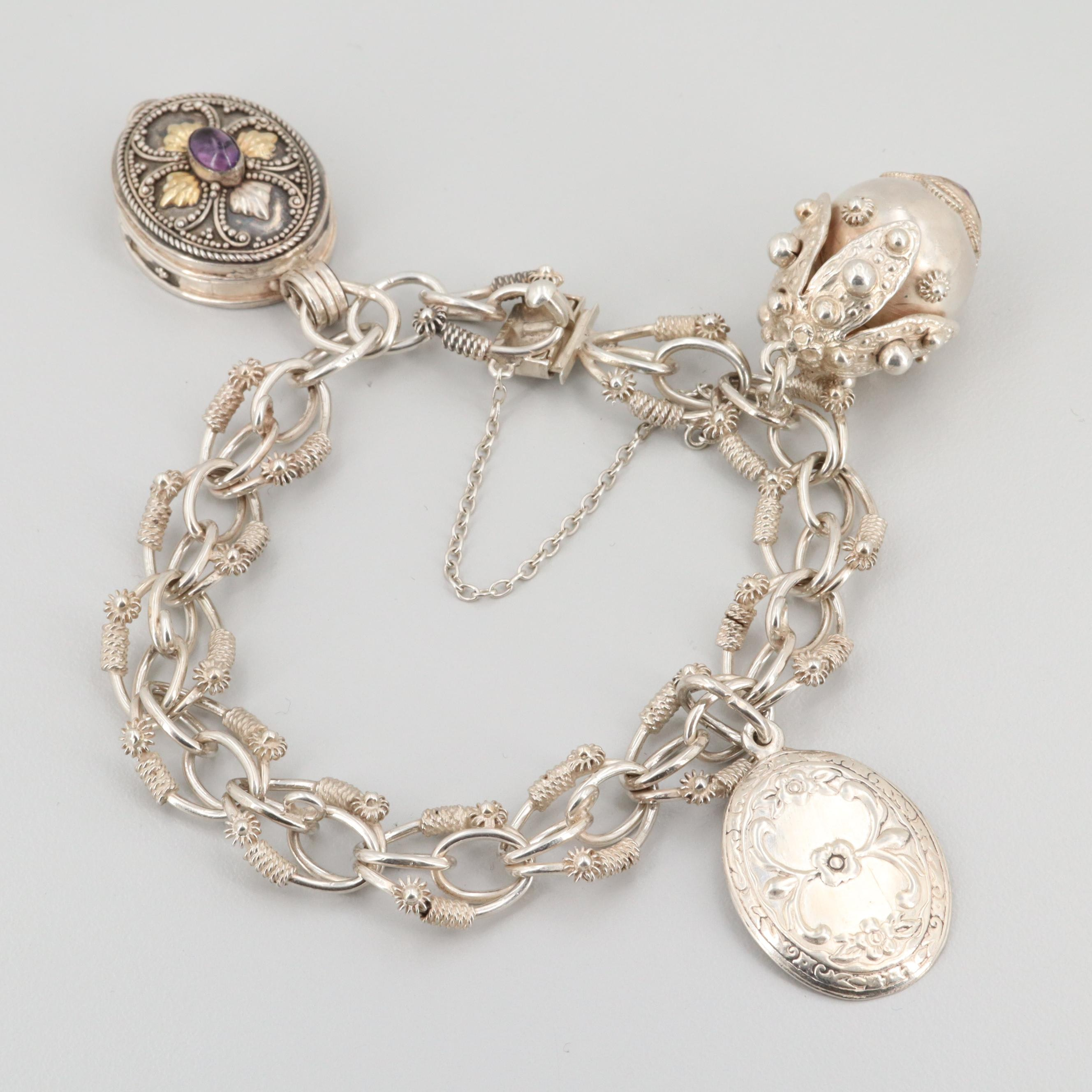 Sterling Silver Amethyst Charm Bracelet Featuring Locket Charm