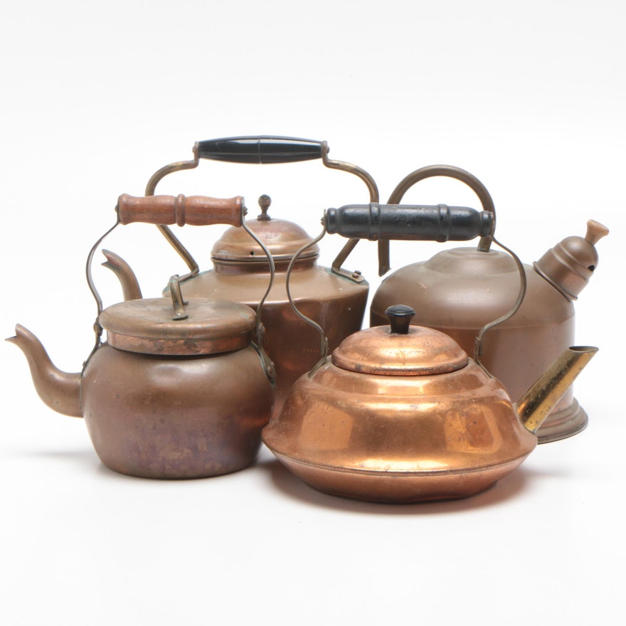Copper and Brass Tea Kettles with Wood and Plastic Handles