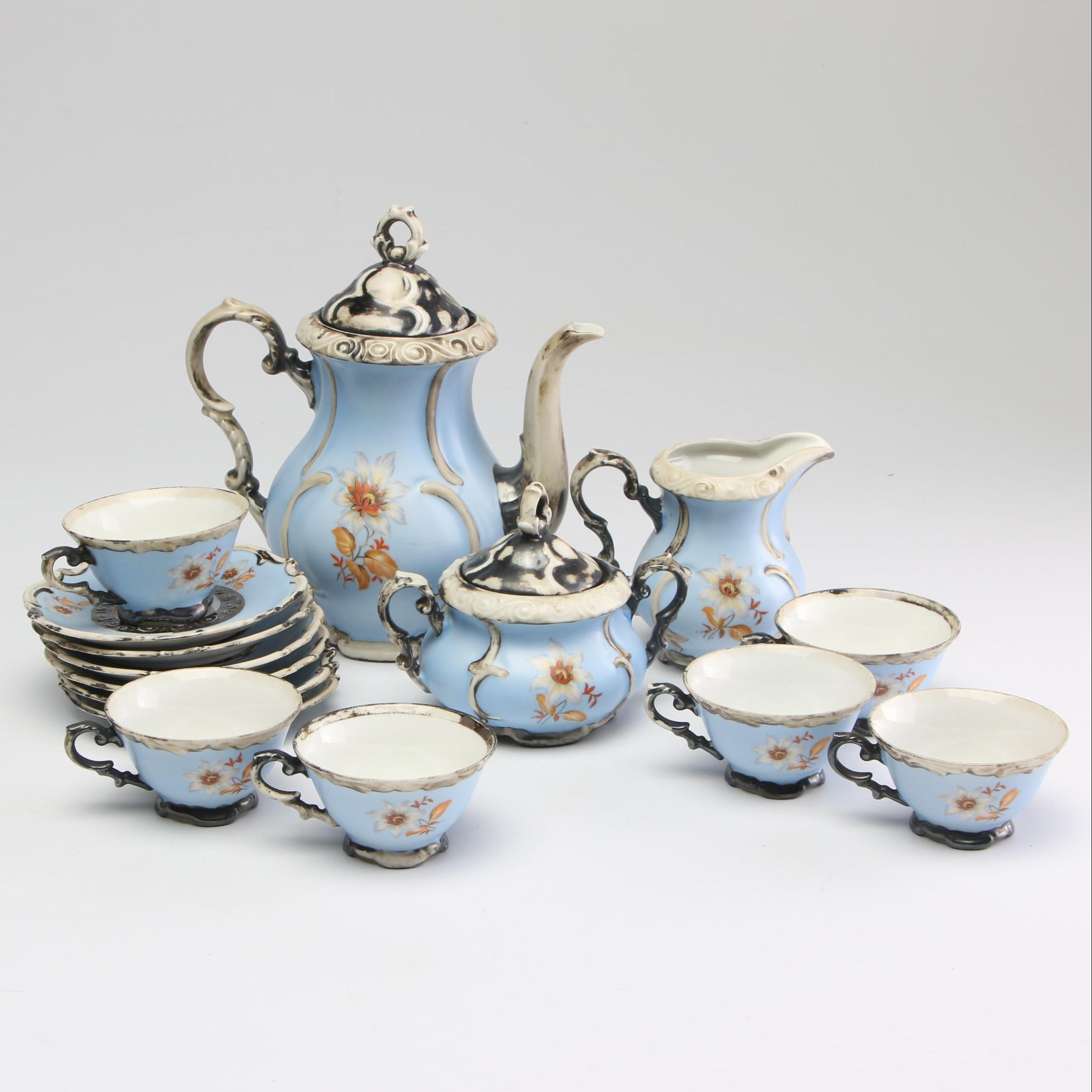 Dekor Feinsilber Bavaria Porcelain Tea Service, Early to Mid-20th Century