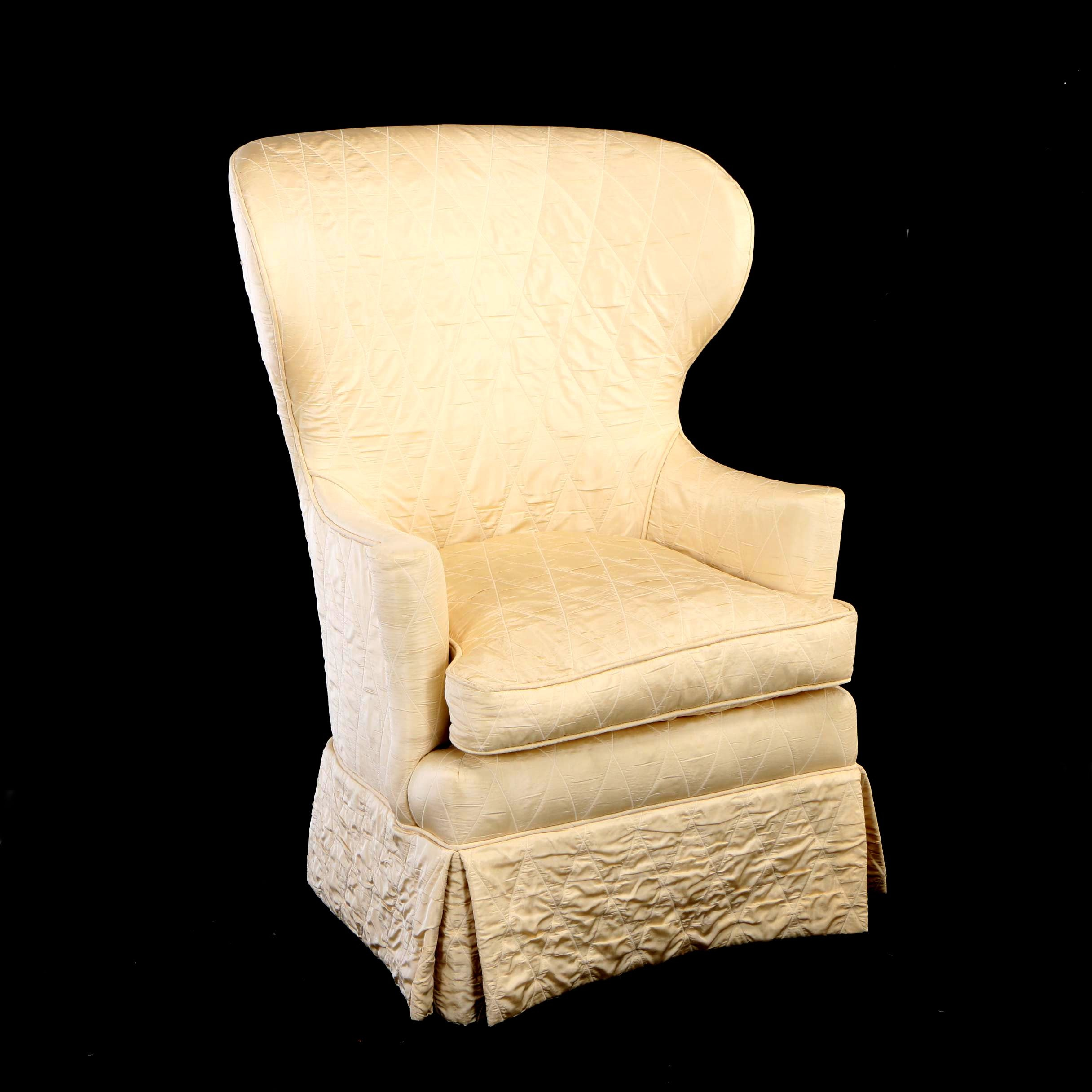Federal Style Custom-Upholstered Mahogany Wingback Armchair, 20th Century