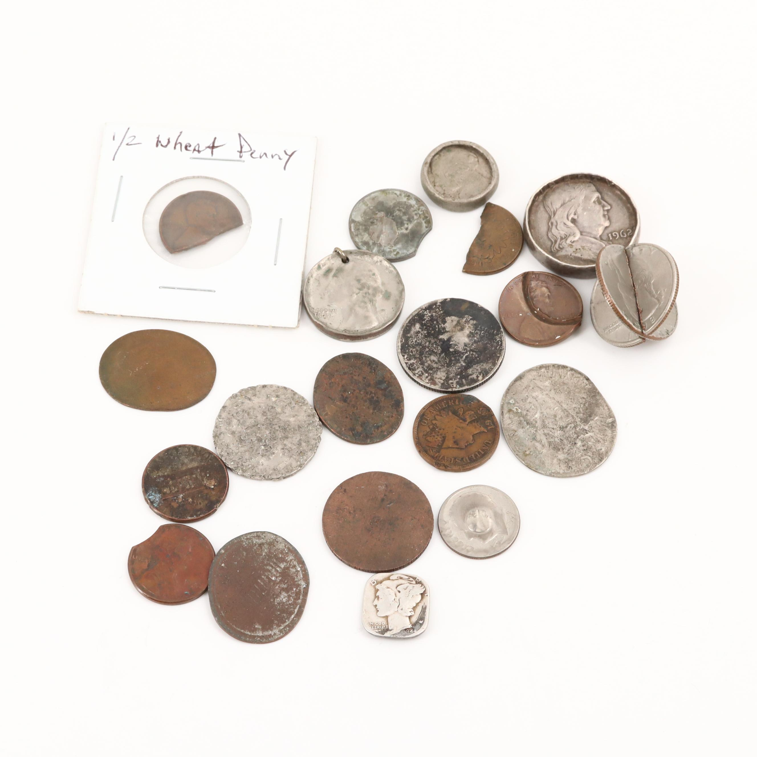 Various Modified /Damaged American Coins Featuring 1944 Squared Mercury Dime