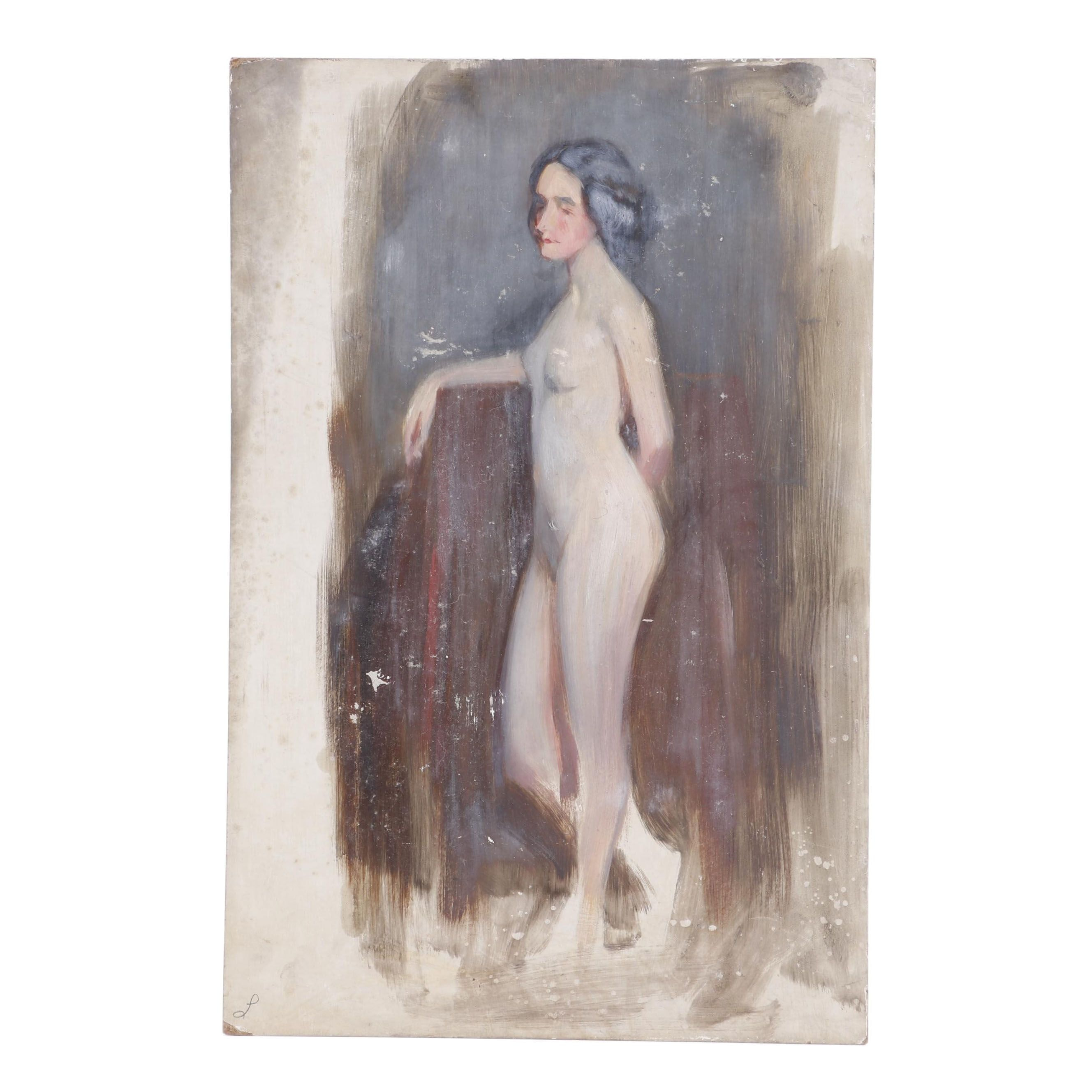 Oil Painting of a Female Nude Attributed to Emil Fuchs, 1920s