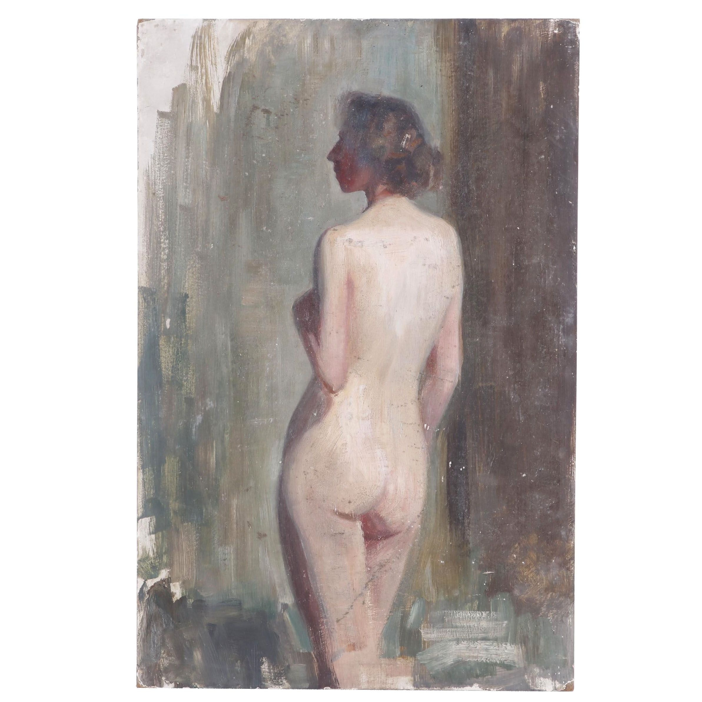 Oil Painting of a Female Nude Attributed to Emil Fuchs, Late 19th Century