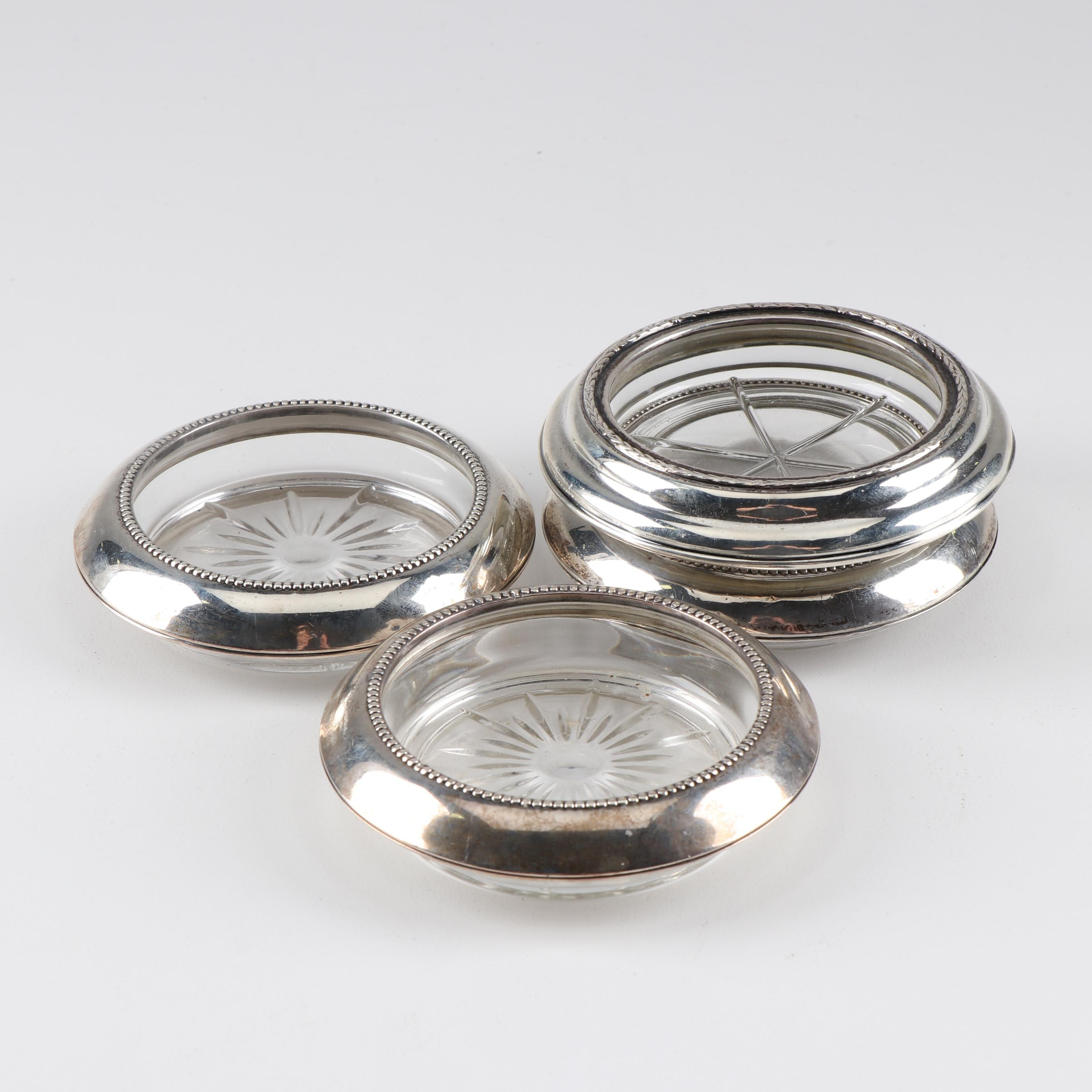 Frank M. Whiting & Co Sterling Silver and Glass Coasters
