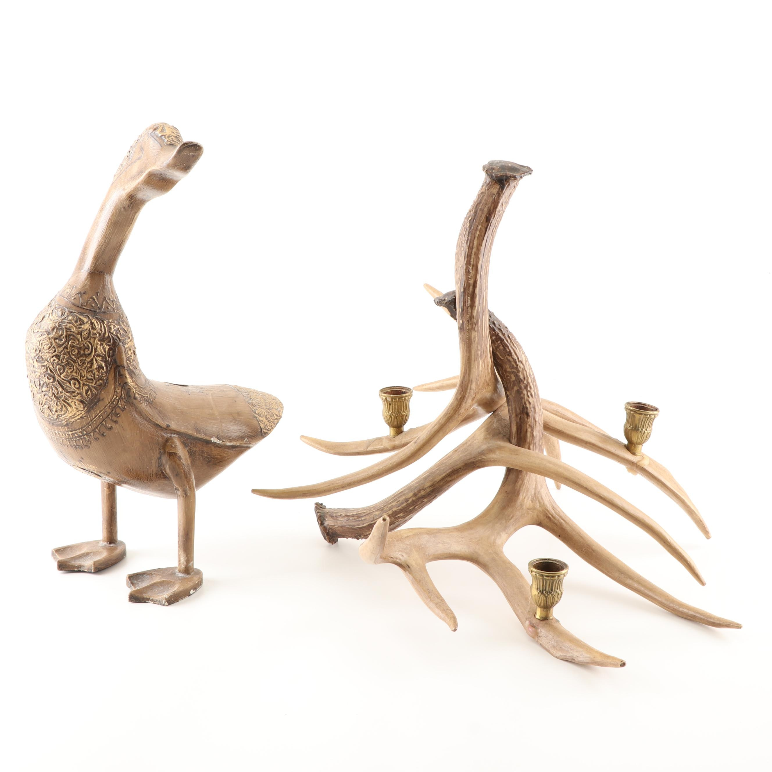 Resin Antler Candelabra and Duck Figurine