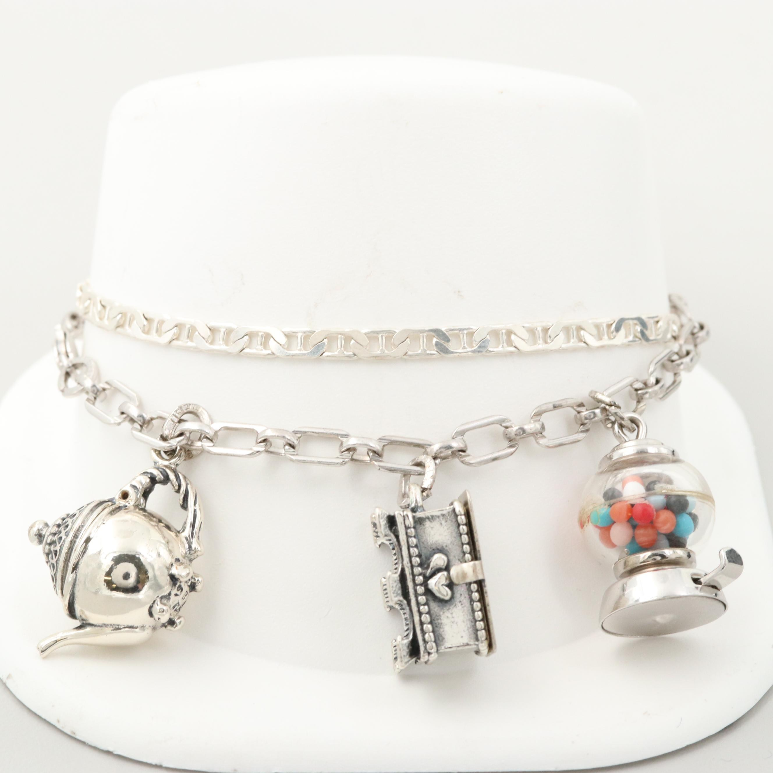 Sterling Silver Chain and Plastic Charm Bracelet Featuring Beau