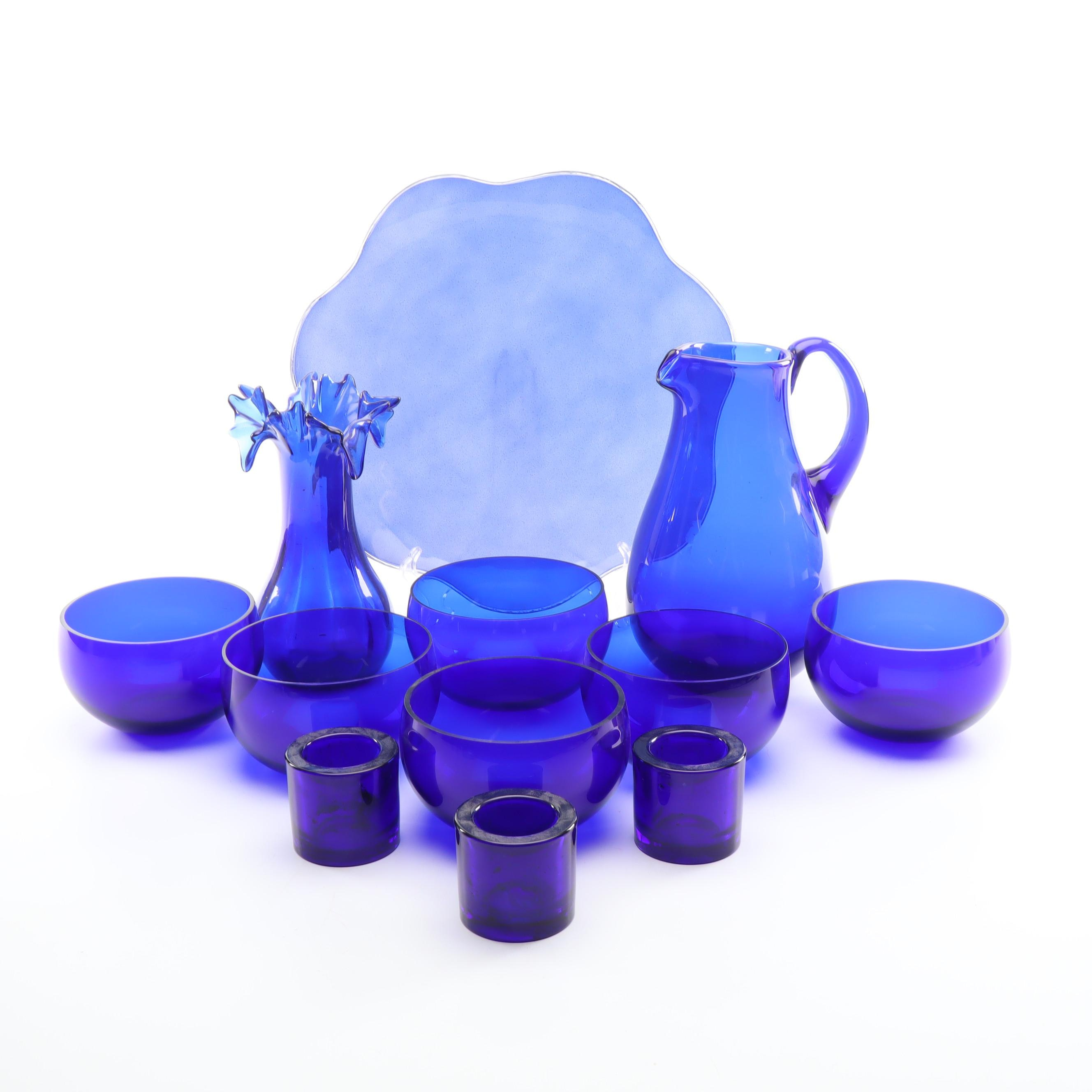 Cobalt Blue Glass Tableware Including Marimekko Votive Holders