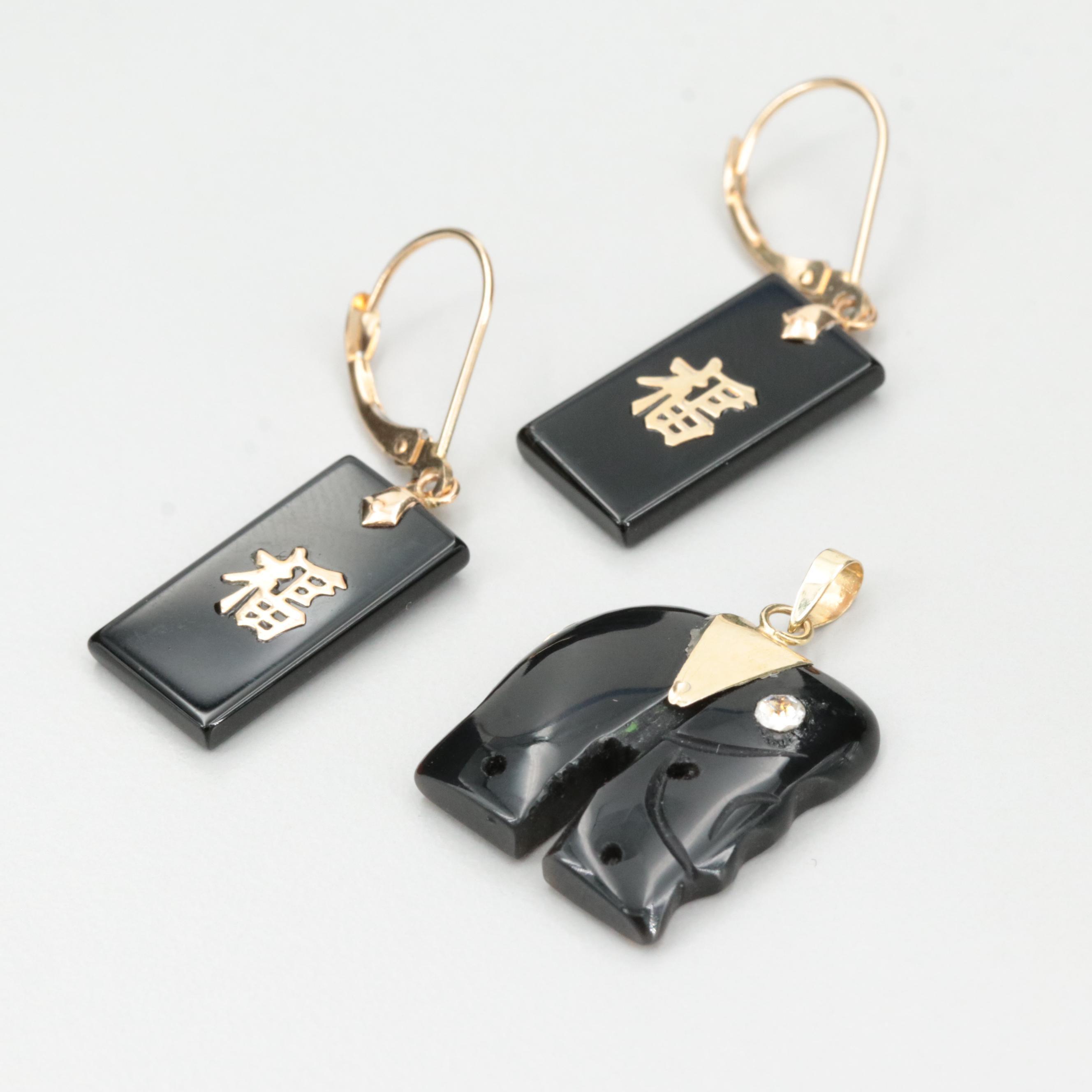 14K Gold Black Onyx Dangle Earrings and Black Onyx and Glass Elephant Pendant