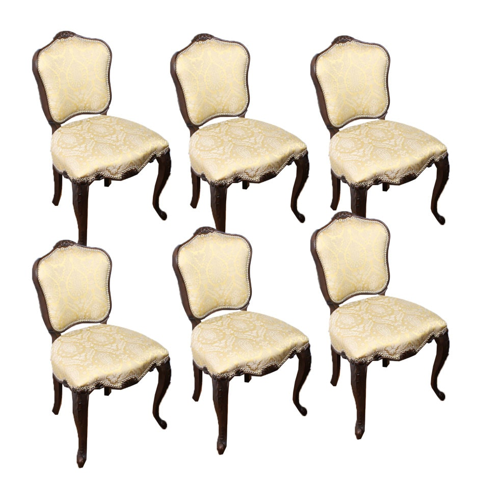 Six Louis XV Style Upholstered Wooden Side Chairs, Late 20th Century