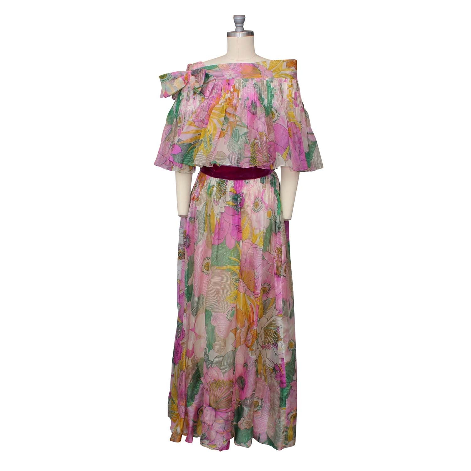 Mollie Parnis Vibrant Floral Chiffon Dress with Matching Capelet, 1960s Vintage