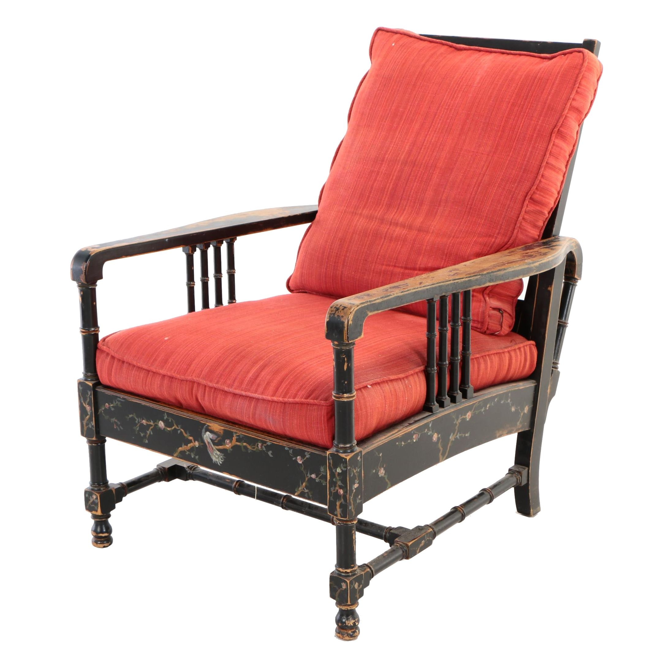 Black-Japanned and Polychrome-Decorated Faux-Bamboo Morris Chair