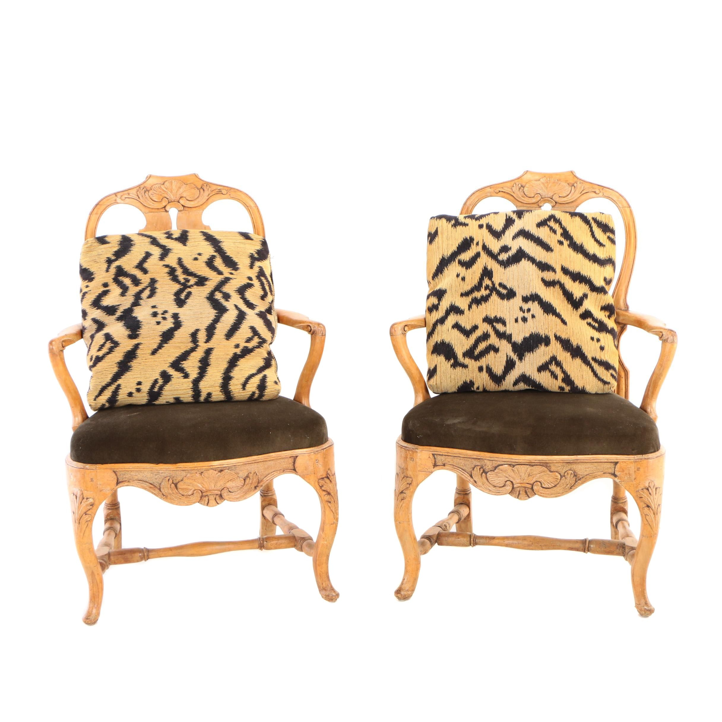 Pair of Swedish Open Armchairs, Late 18th/19th Century