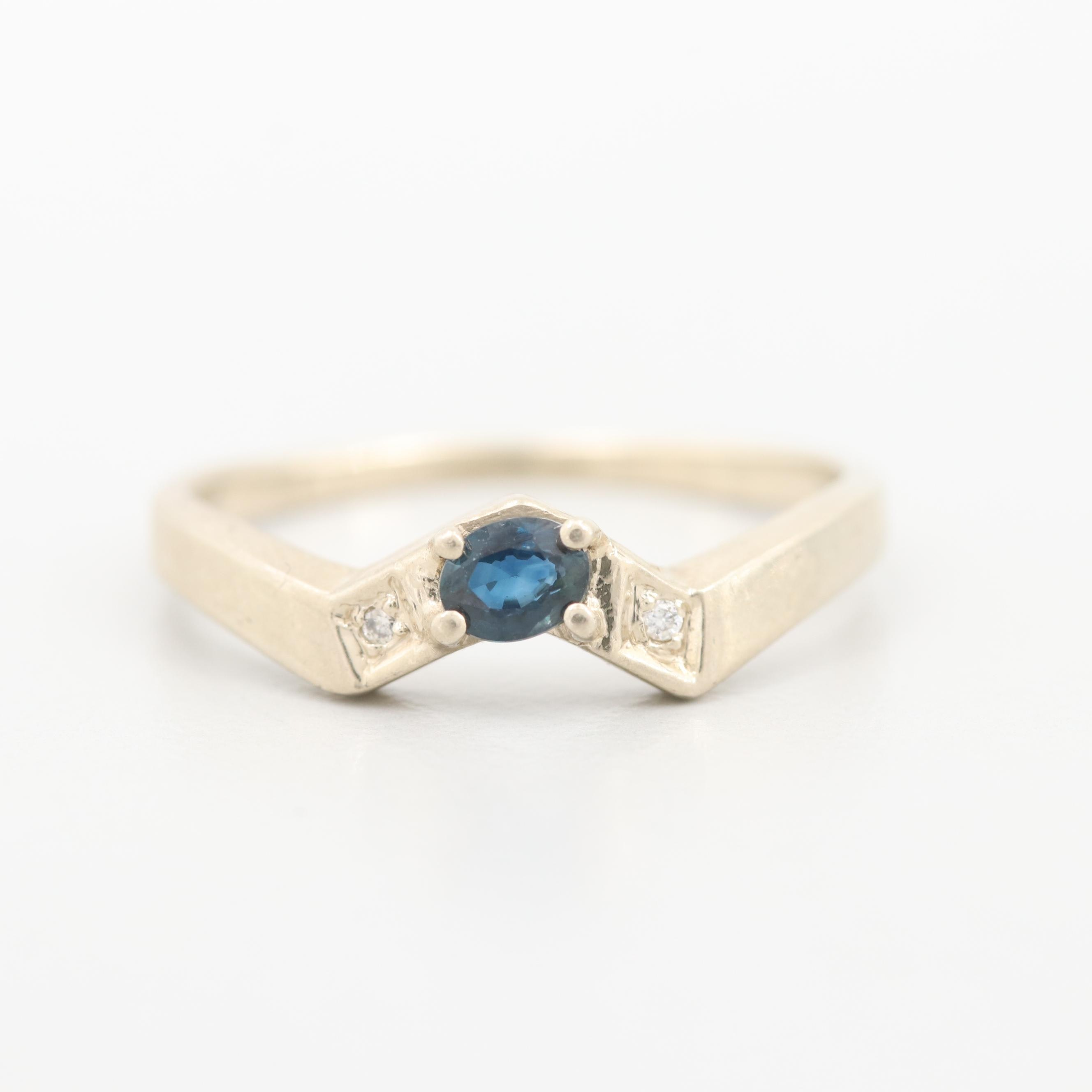 14K White Gold Blue Sapphire and Diamond Contour Ring
