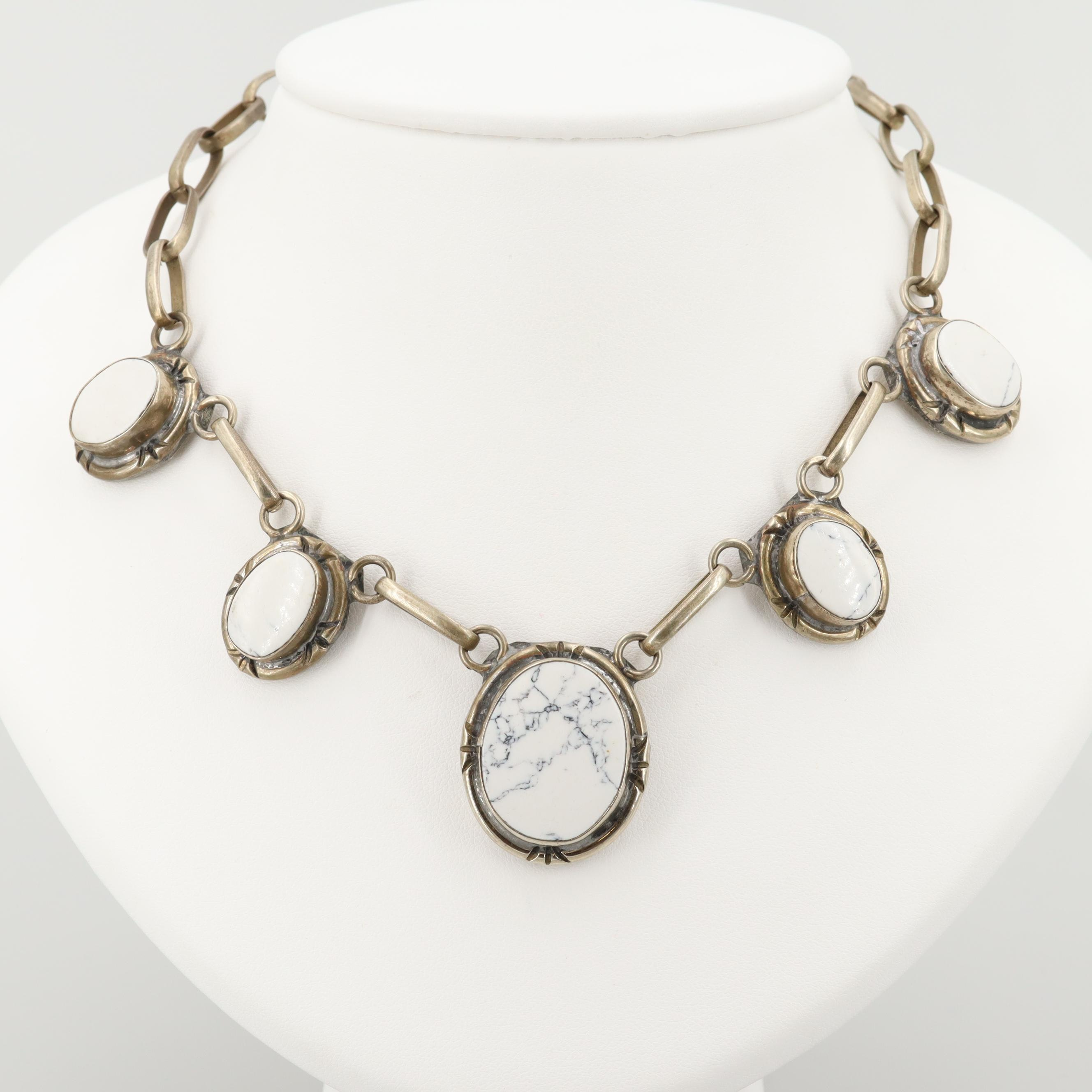 Silver Tone Howlite Necklace