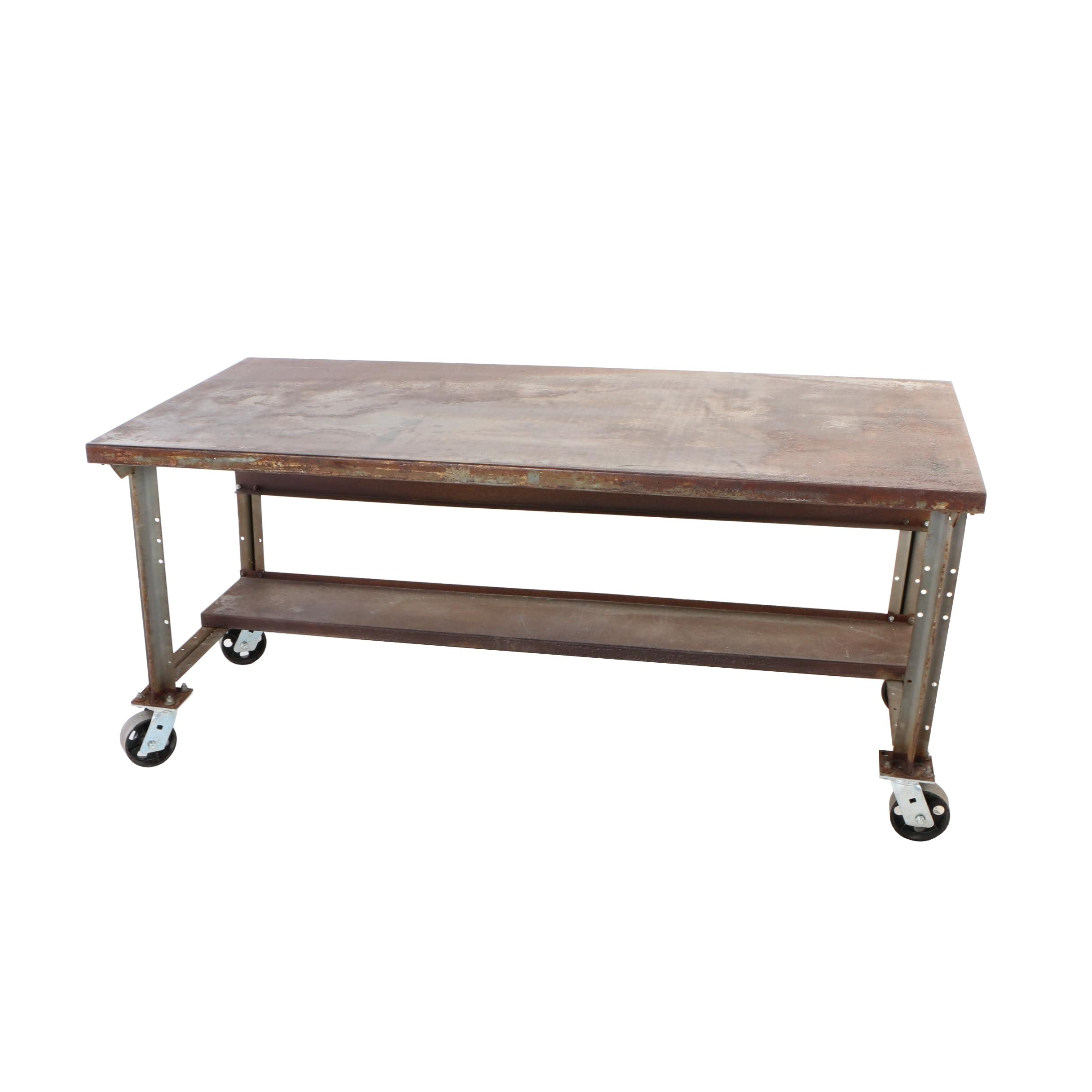 Industrial Steel Rolling Work Table, 20th Century