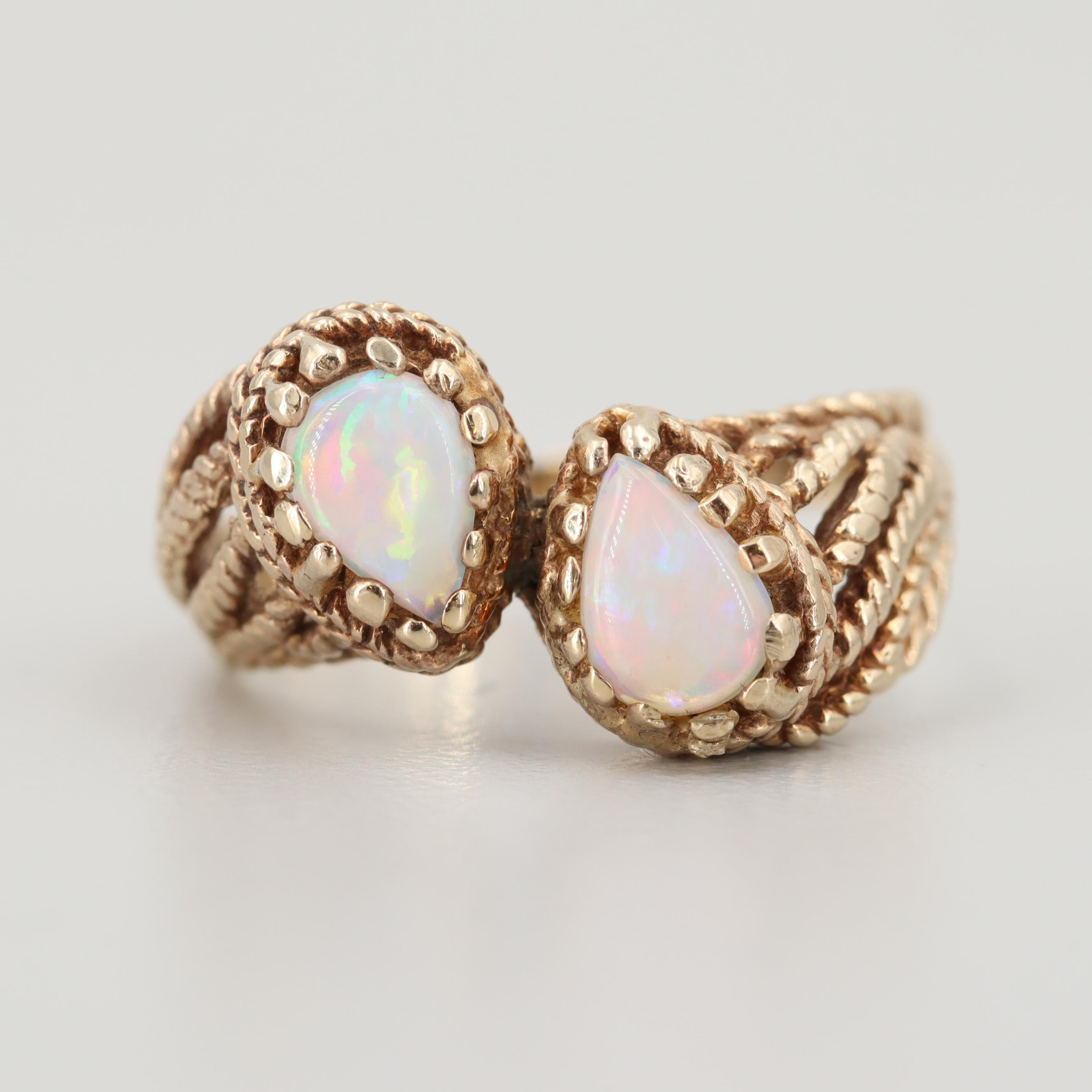 10K Yellow Gold Opal Wirework Ring