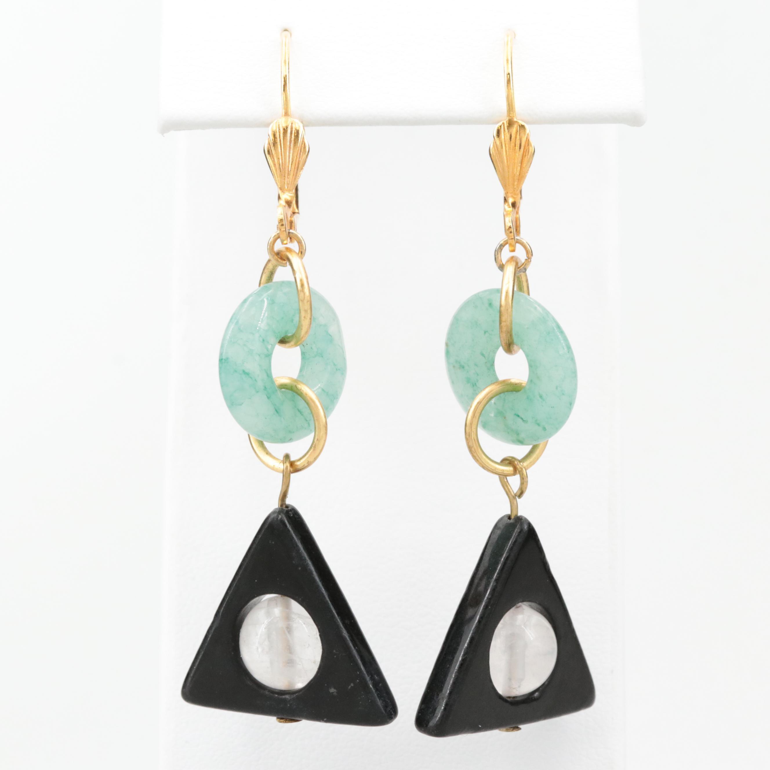 Rose Quartz, Quartz and Black Onyx Dangle Earrings