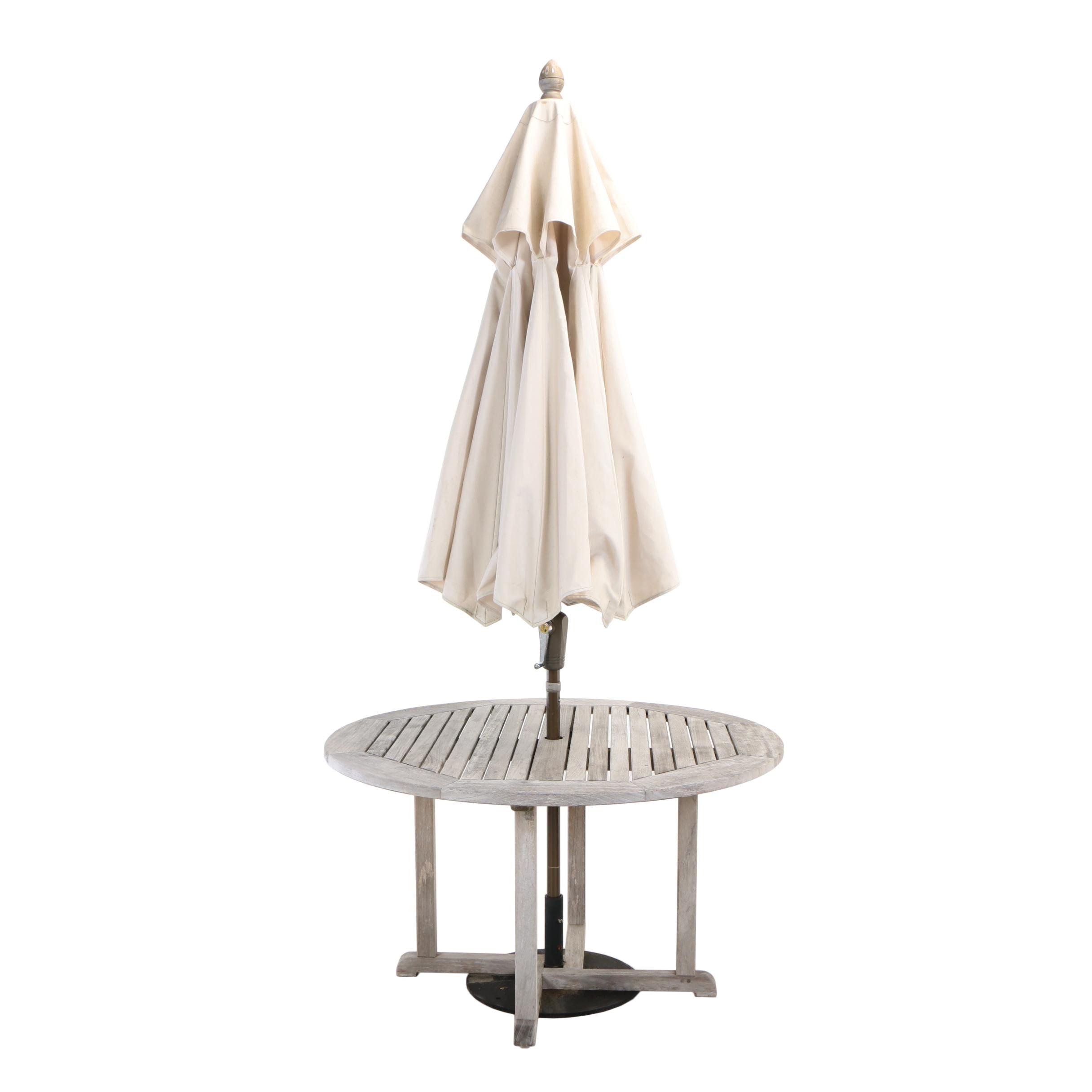 Kingsley-Bate Ltd., Teak Patio Dining Table with Fiberbuilt Umbrella