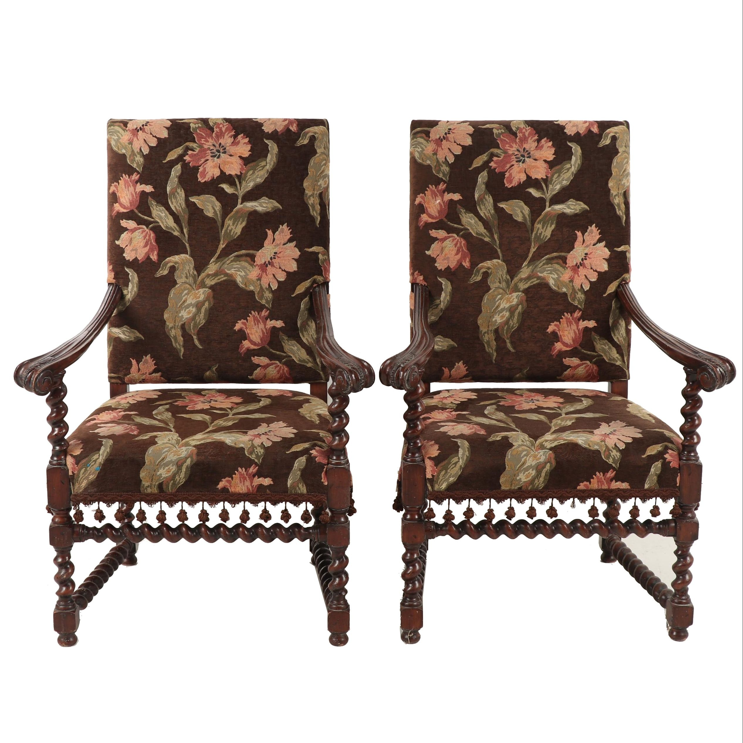 Pair of William and Mary Style Walnut-Finish Tapestry-Upholstered Armchairs