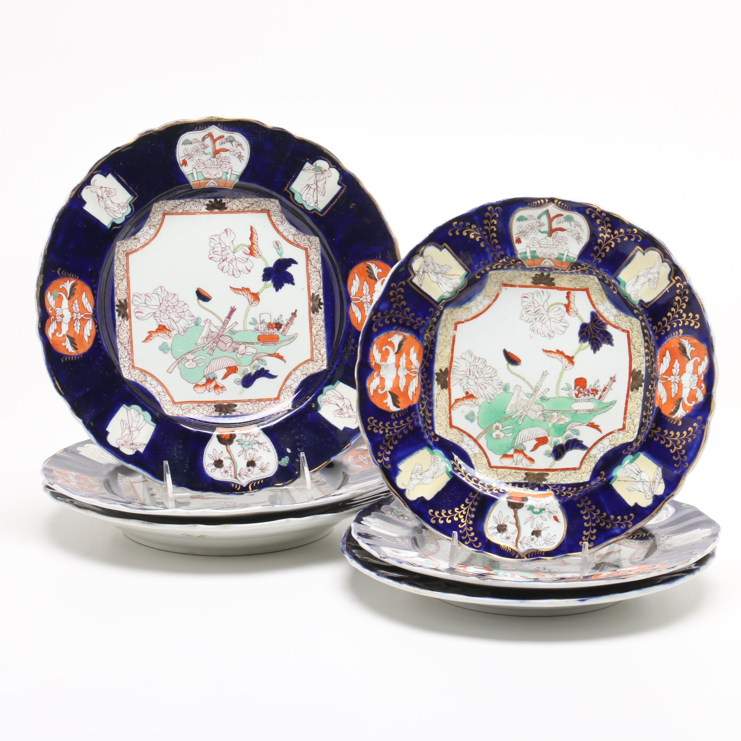 Mason's Patent Ironstone China Plates in Gilt Royal Blue