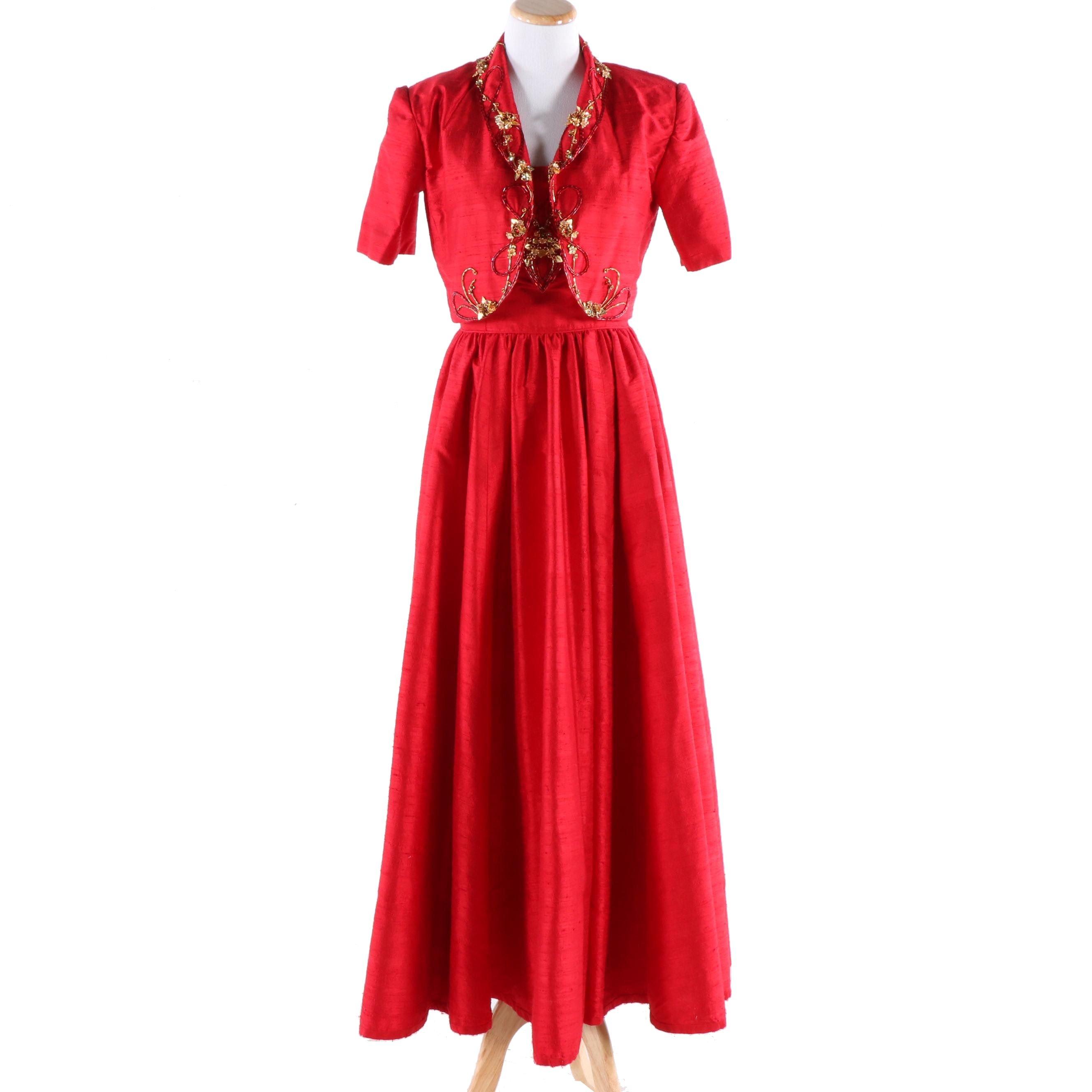 Red Silk Dupioni Beaded Evening Gown With Bolero Jacket