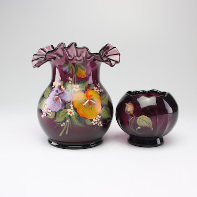 Hand-Painted Signed Fenton Vases, Late 20th Century