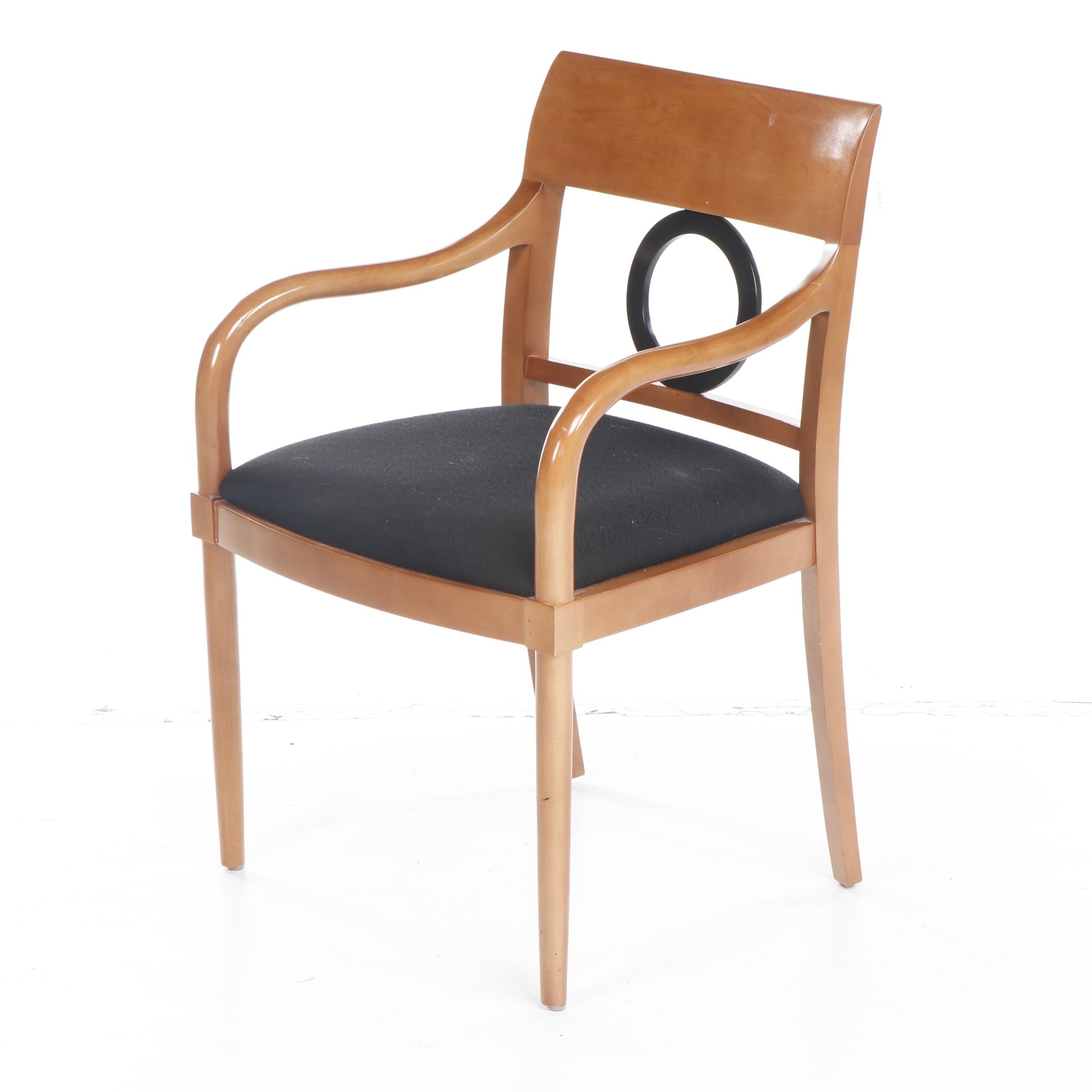Bernhardt Modern Blonde and Parcel-Ebonized Wood Armchair, Late 20th Century