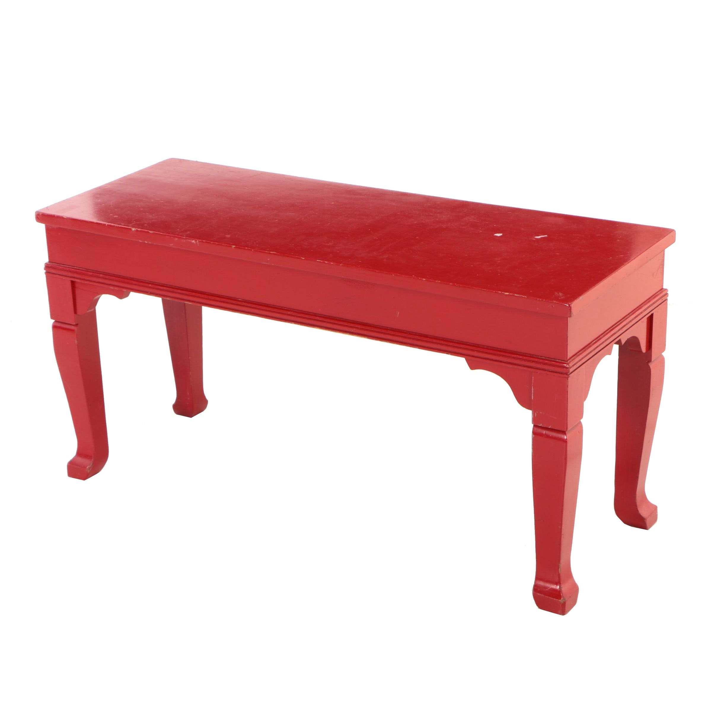 Red-Painted Wooden Lift-Lid Piano Bench, 20th Century