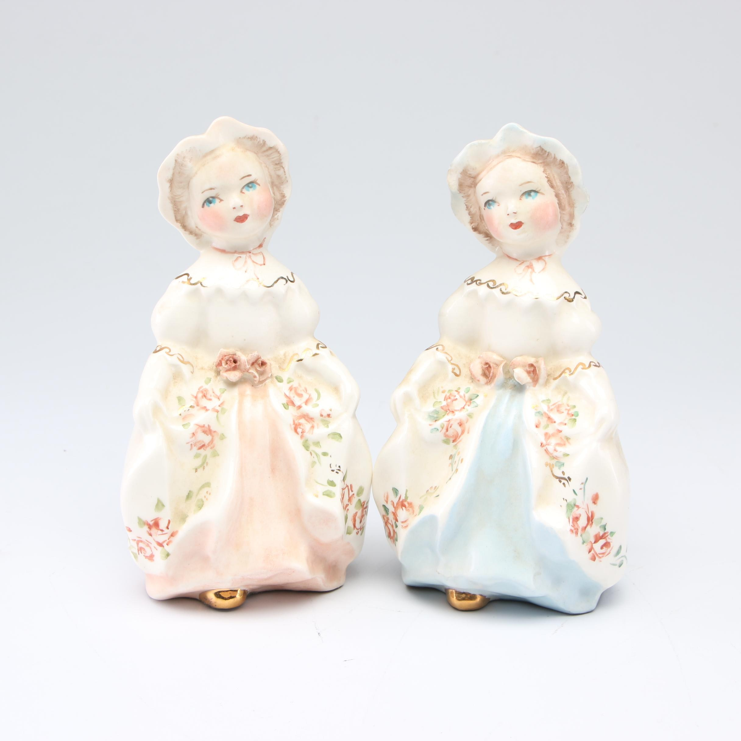 Pair of Hand-Painted Porcelain Figurines, Mid 20th Century