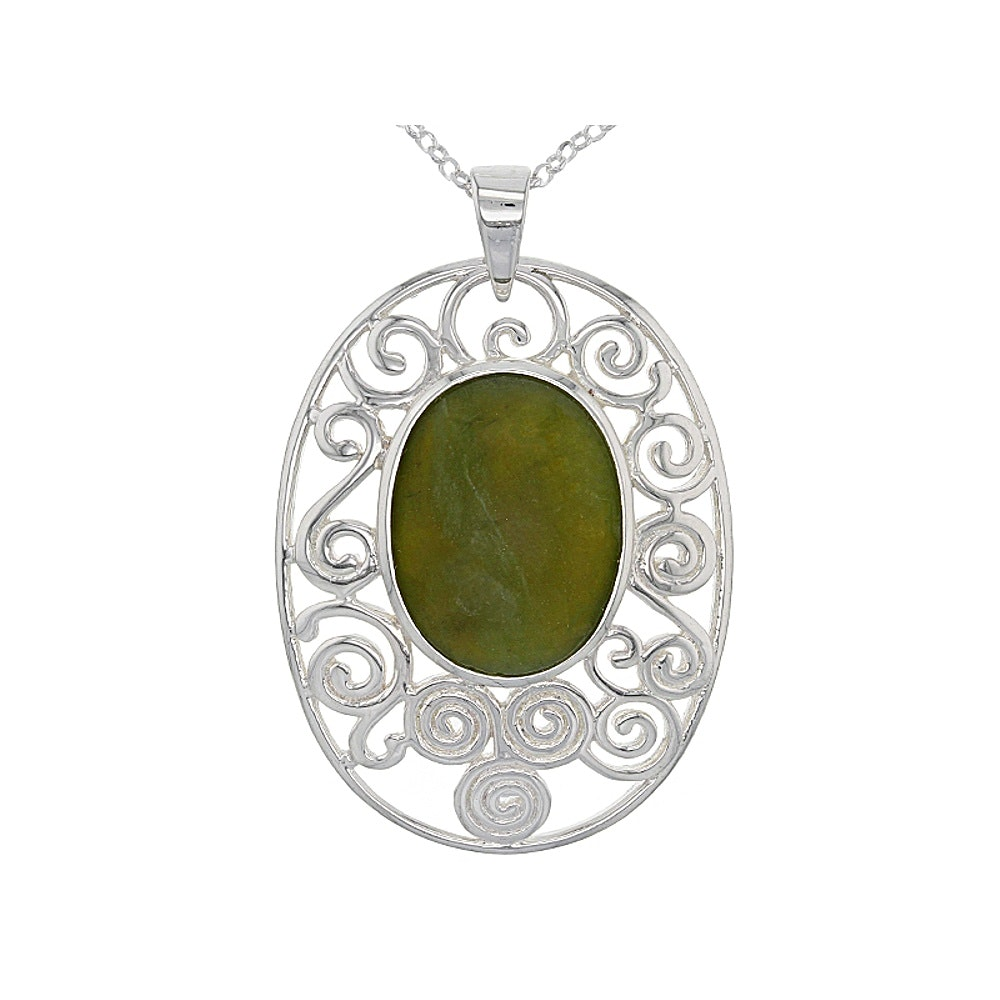 Sterling Silver Connemara Marble Pendant Necklace
