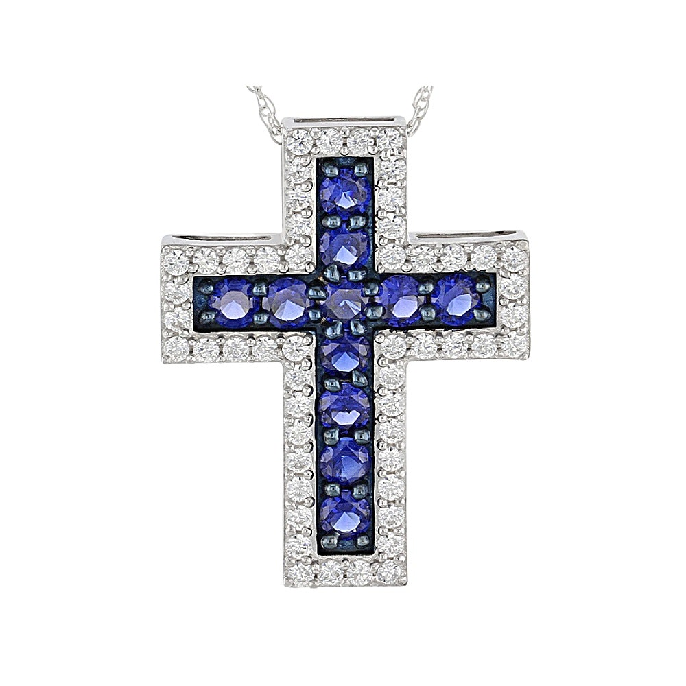 Sterling Silver Sapphire and Diamond Simulant Cross Pendant Necklace
