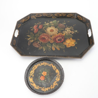 Hand-Painted Metal Serving Trays, Early to Mid 20th Century