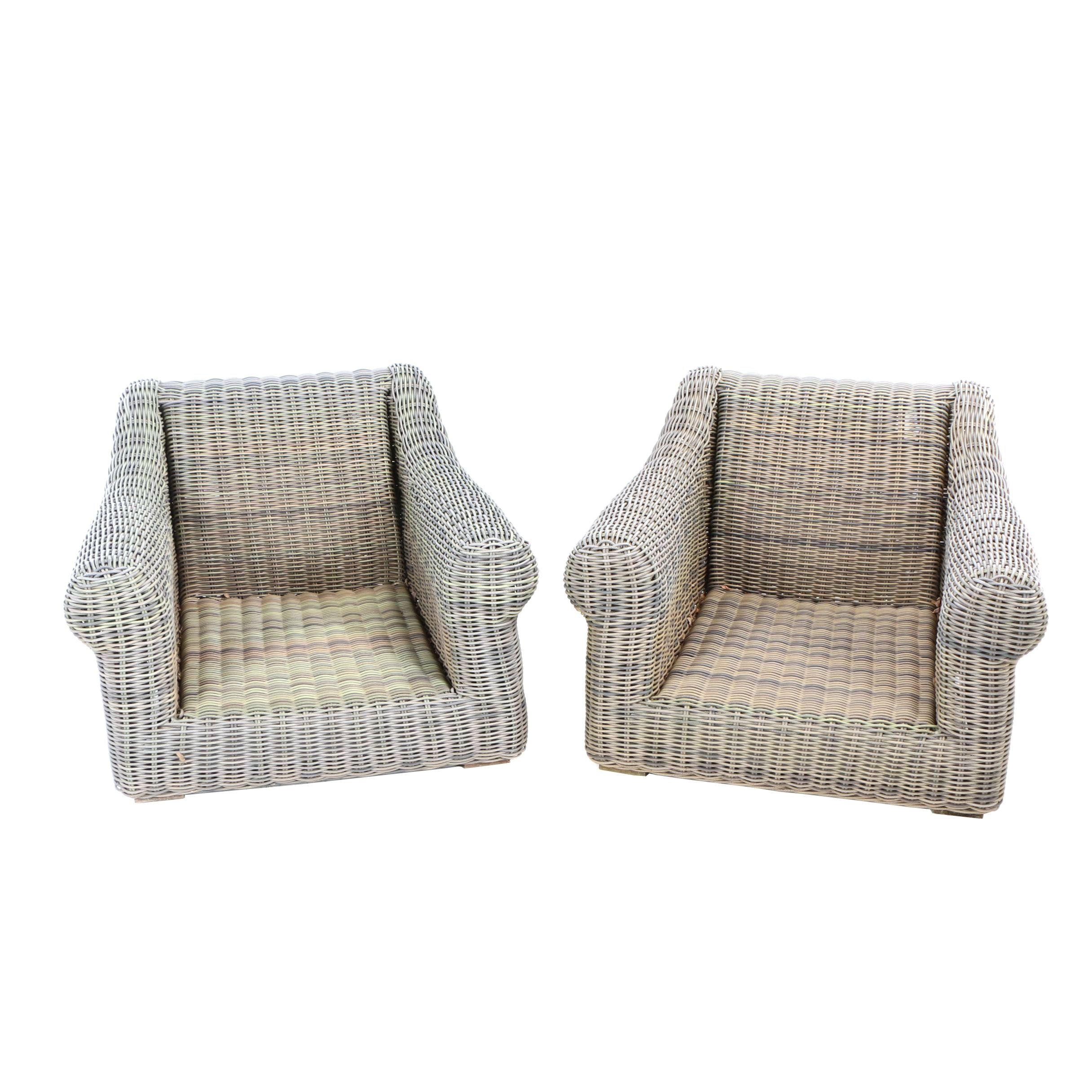 Pair of Contemporary Wicker Patio Lounge Chairs, Possibly Restoration Hardware