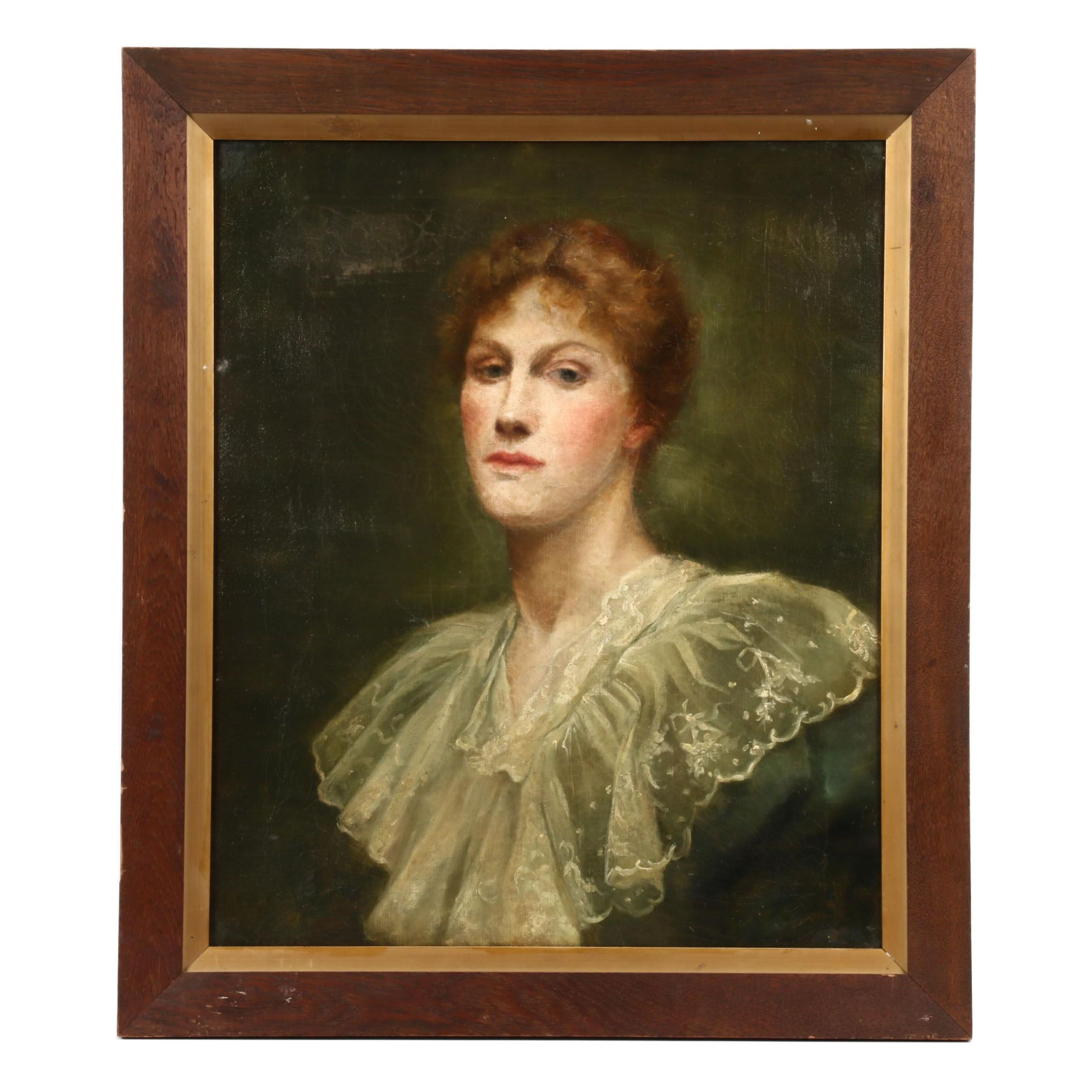 Portrait of a Woman in Lace Collar Oil Painting