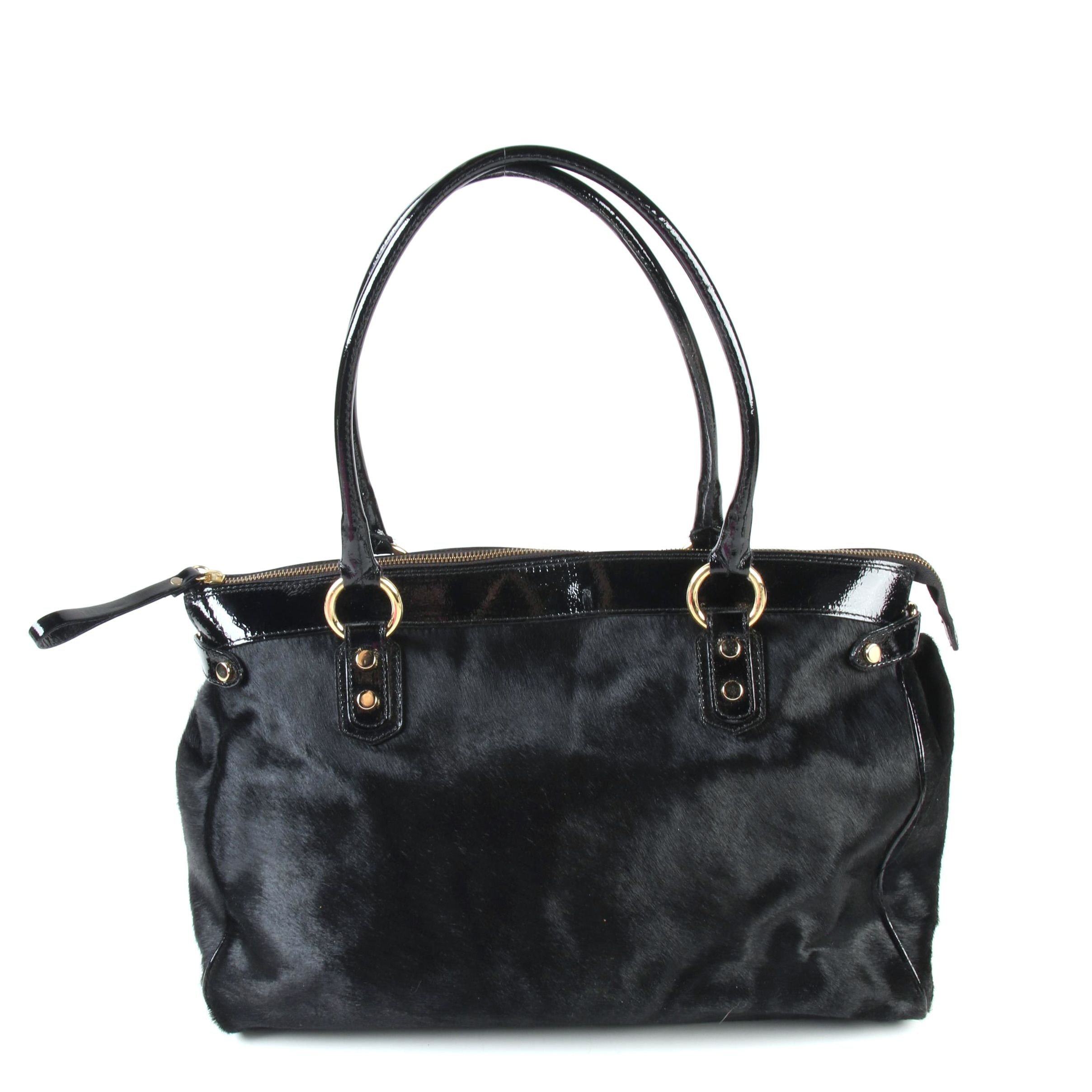 Cavalcanti of Italy Black Pony Hair and Patent Leather East West Satchel