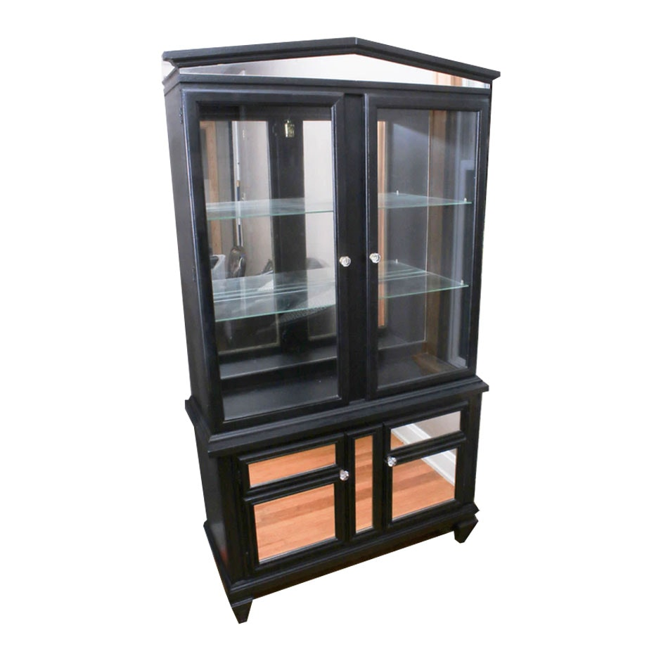 Contemporary Ebonized and Mirrored Hardwood Display Cabinet