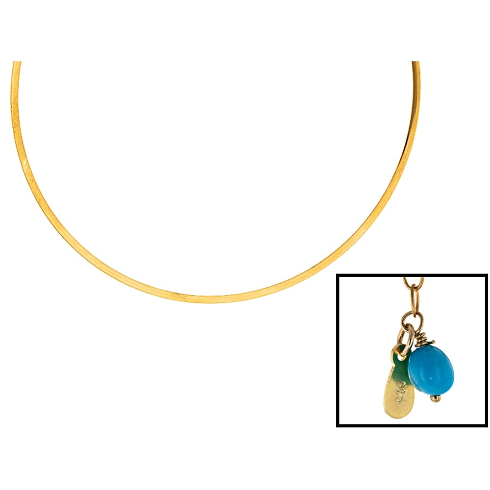 Gold Wash on Sterling Silver Turquoise Choker Necklace