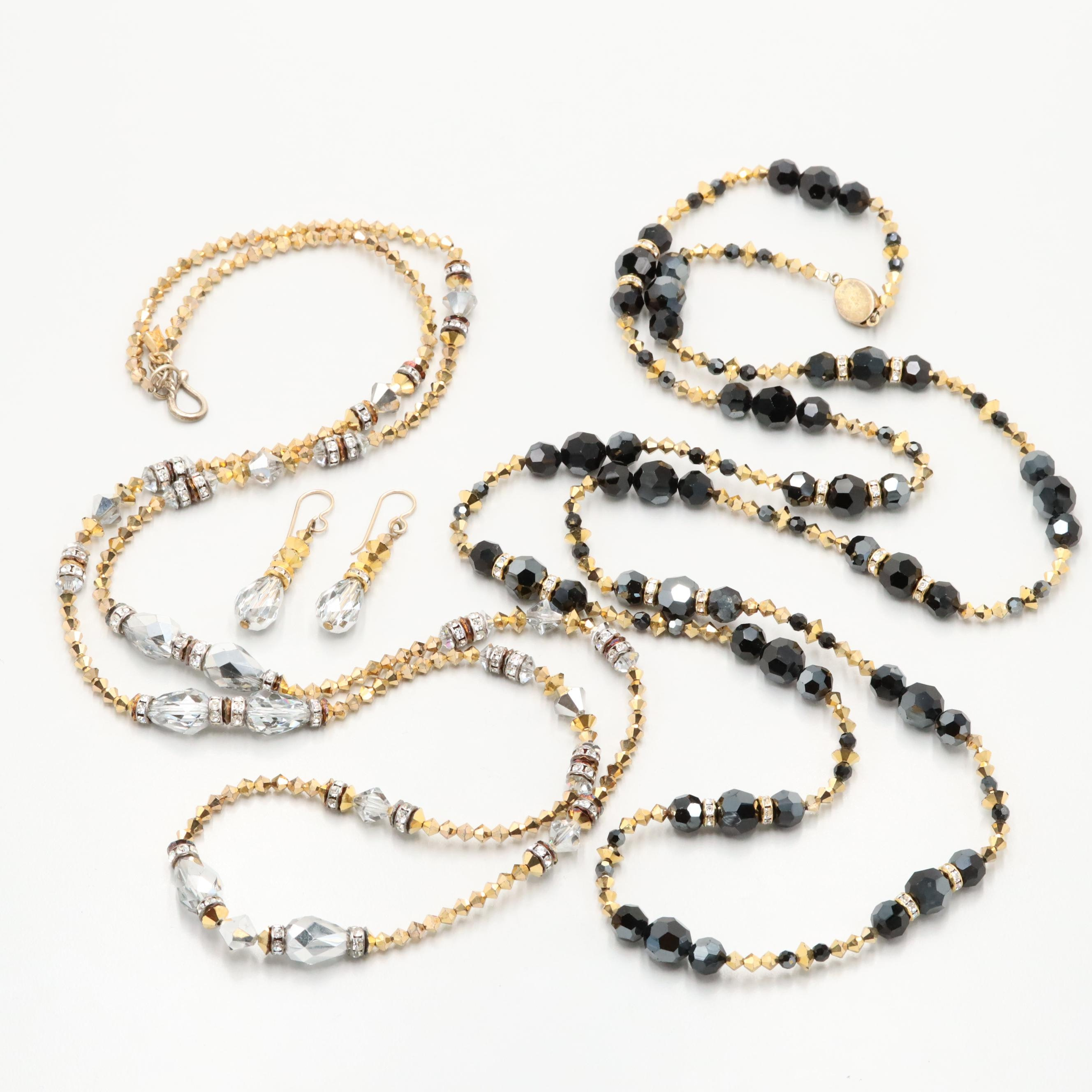 Glass and Rhinestone Beaded Necklaces and Earrings Including 800 and 900 Silver